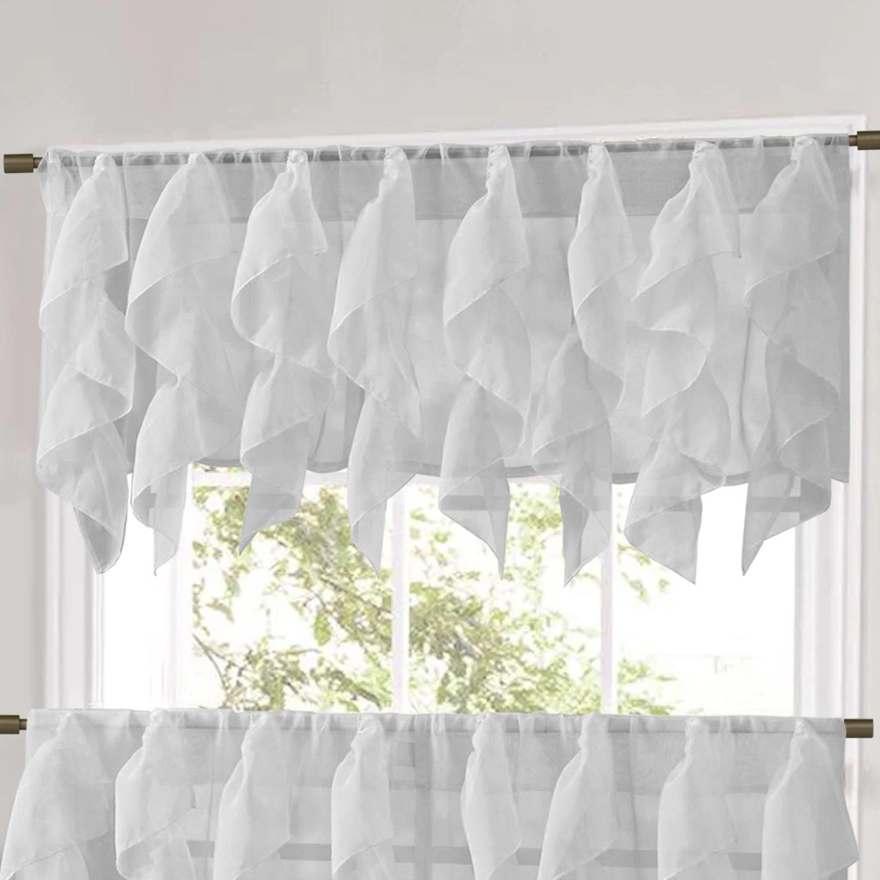 Well Liked Sweet Home Collection Silver Vertical Ruffled Waterfall Valance And Curtain Tiers Within Vertical Ruffled Waterfall Valance And Curtain Tiers (View 5 of 20)