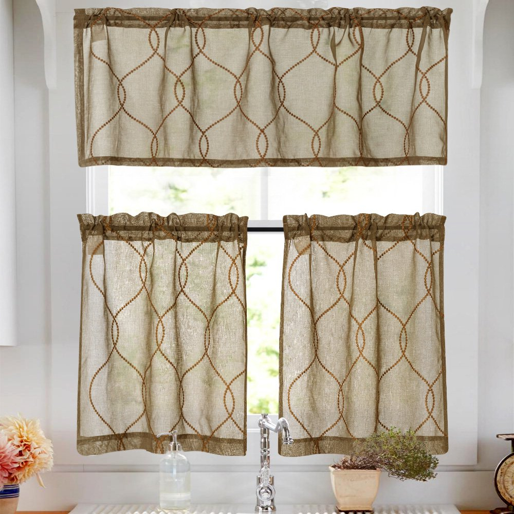 Well Liked Tree Branch Valance And Tiers Sets Throughout Embroidery Kitchen Curtain Sets 3 Pcs Moroccan Trellis Pattern Embroidered Semi Sheer Kitchen Tier Curtains And Valance Set 24 Inch For Bathroom, (View 10 of 20)