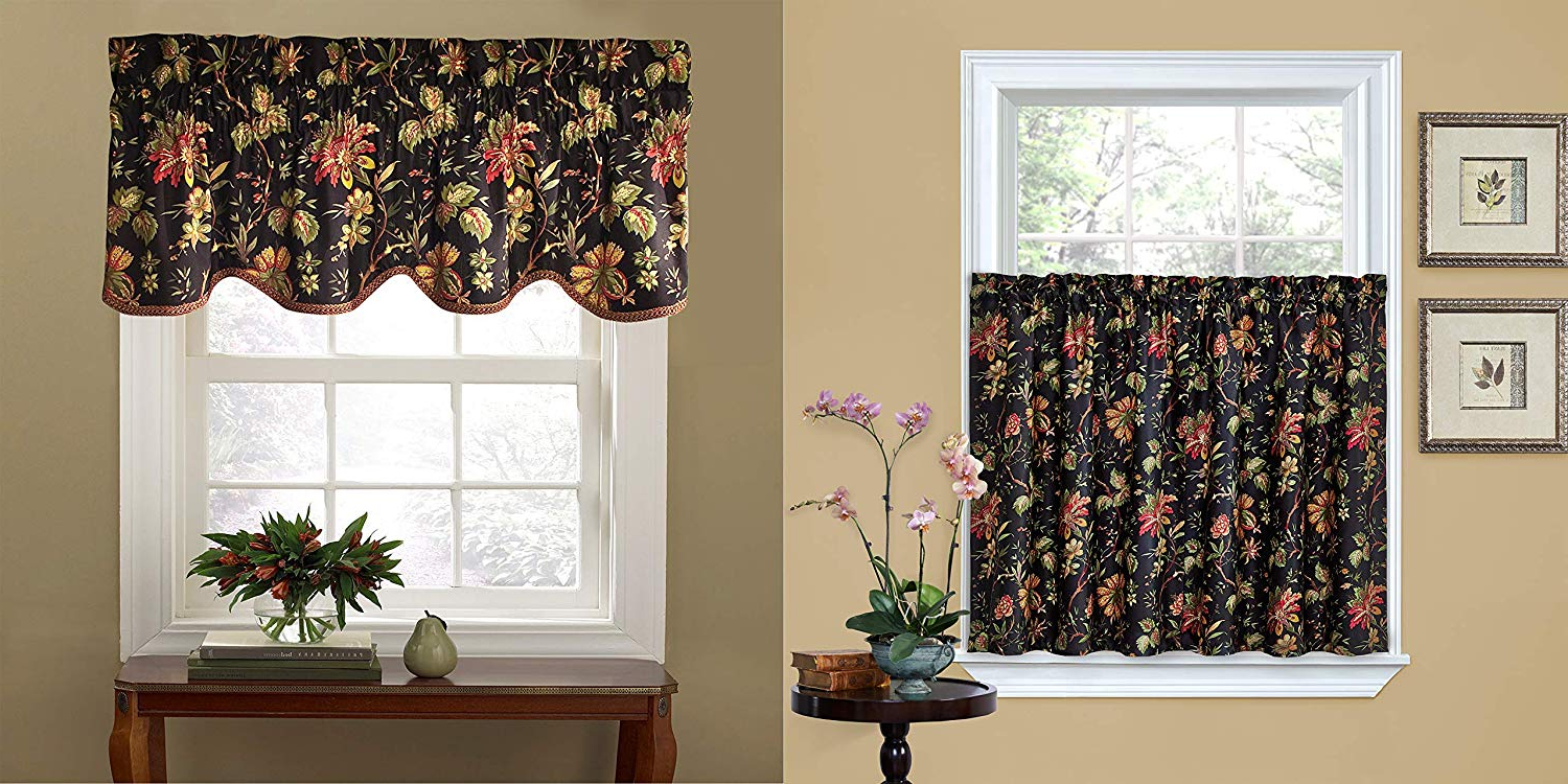Well Liked Waverly 14553060x036noi Felicite 60 Inch36 Inch Window Tier Pair With 50 Inch15 Inch Window Valance (noir) Pertaining To Waverly Felicite Curtain Tiers (View 11 of 20)