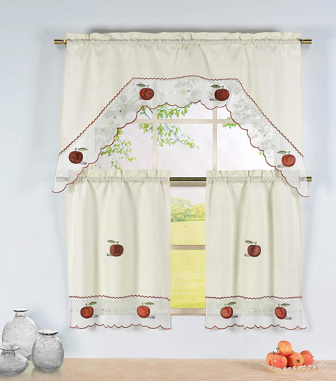 Well Liked Window Elements Embroidered 3 Piece Kitchen Tier And Valance 60 X 72 Set With Scalloped Border, Apple Time Within Red Delicious Apple 3 Piece Curtain Tiers (View 6 of 20)
