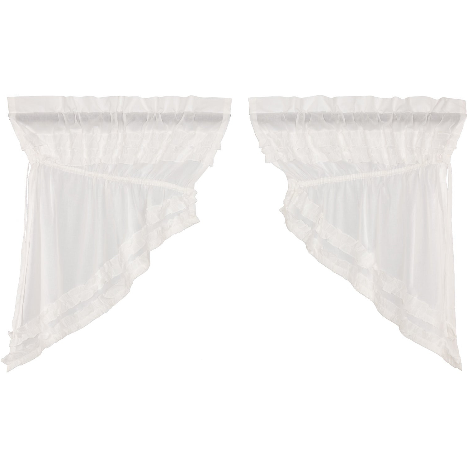 White Farmhouse Kitchen Curtains Vhc White Ruffled Sheer Petticoat Prairie Swag Pair Rod Pocket Cotton Solid Color Sheer Intended For Most Recently Released Rod Pocket Cotton Solid Color Ruched Ruffle Kitchen Curtains (View 7 of 20)