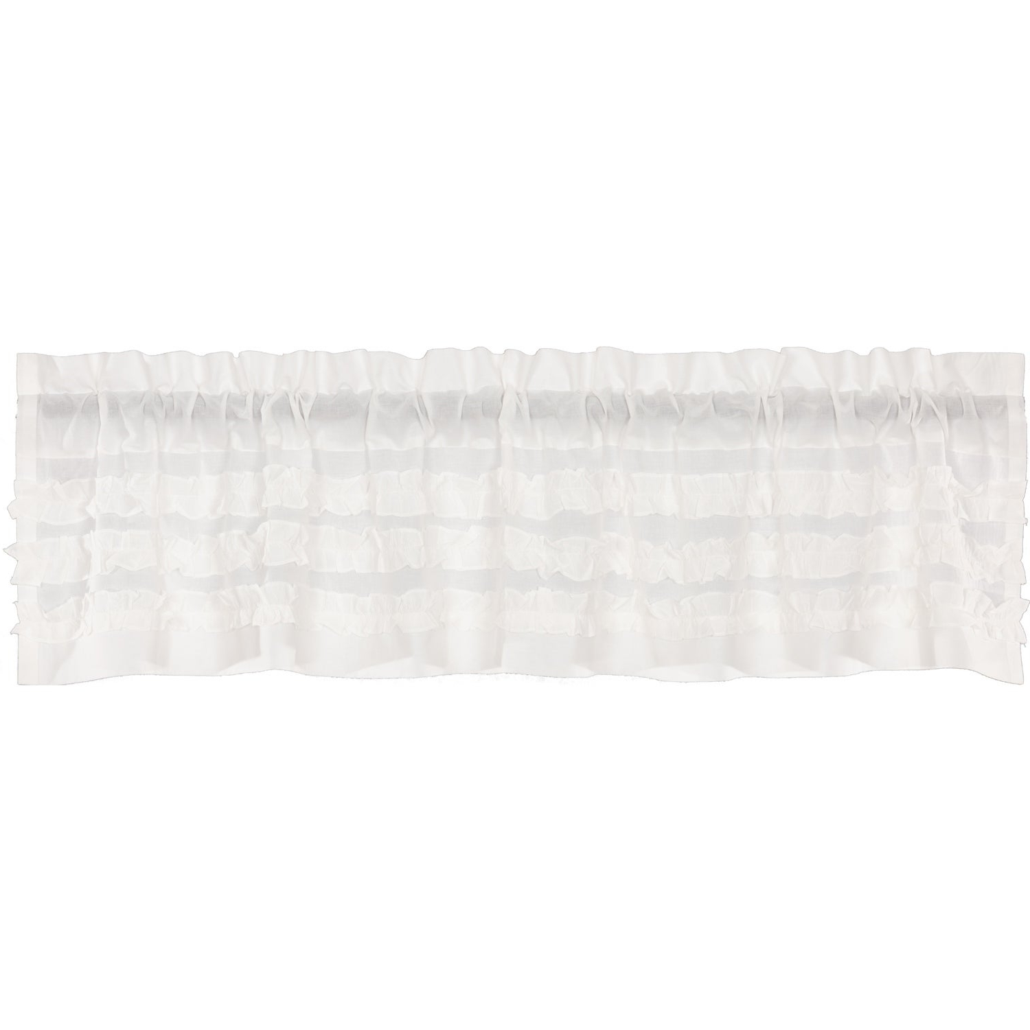 White Farmhouse Kitchen Curtains Vhc White Ruffled Sheer Petticoat Valance Rod Pocket Cotton Solid Color Ruched Ruffle With Well Known Rod Pocket Cotton Solid Color Ruched Ruffle Kitchen Curtains (View 3 of 20)