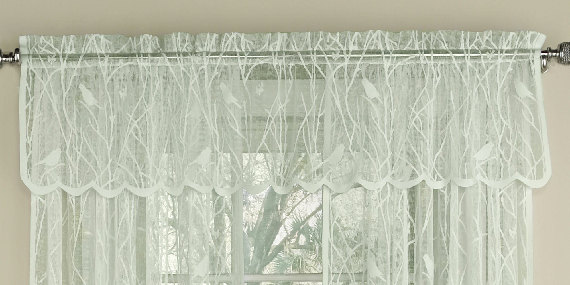 "White Knit Lace Bird Motif Window Curtain Tiers In Latest Nardi Knit Lace Song Bird Motif 56"" Window Valance (View 12 of 20)"
