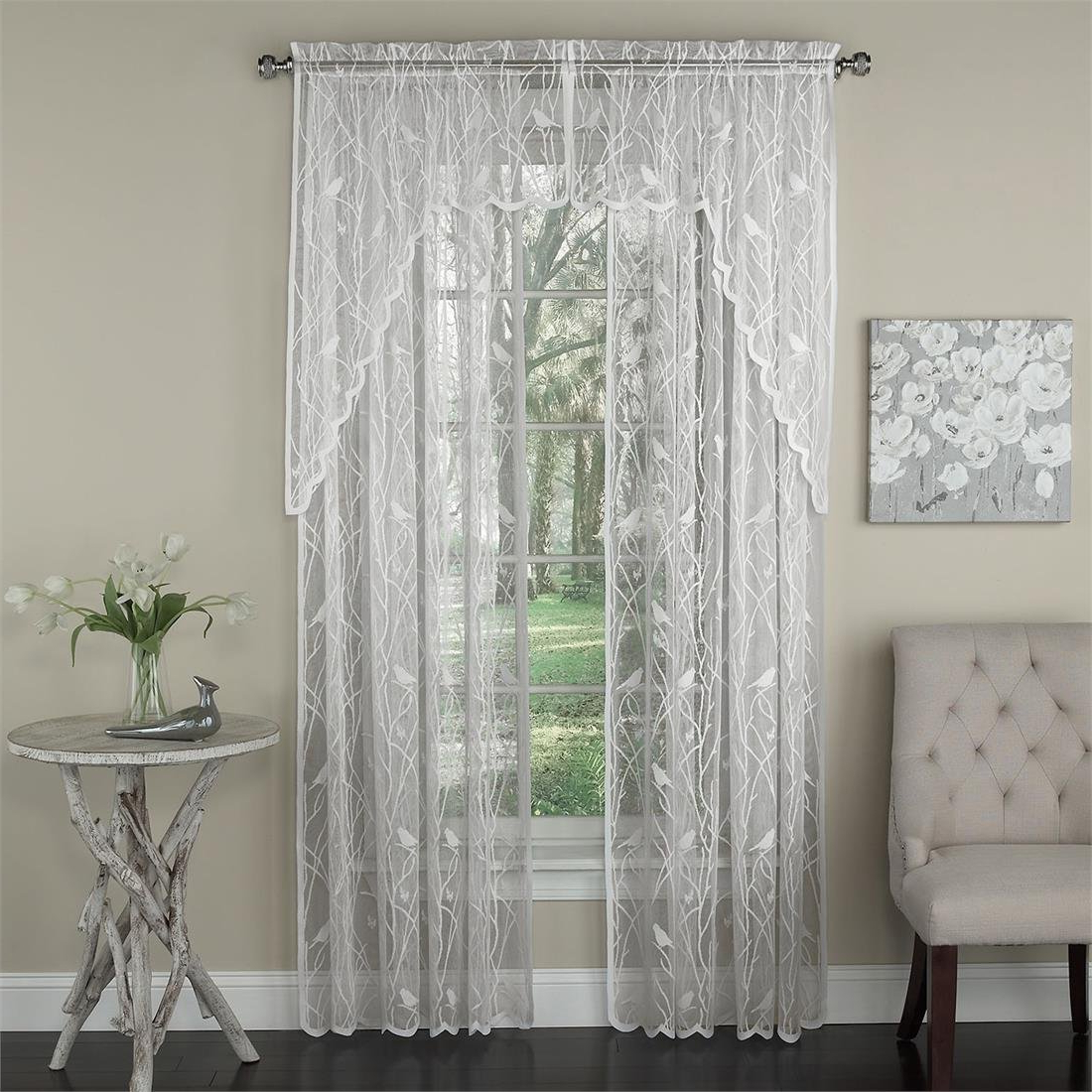 White Knit Lace Bird Motif Window Curtain Tiers Throughout Current Brylanehome Song Bird Lace Swag (White,0) (View 18 of 20)