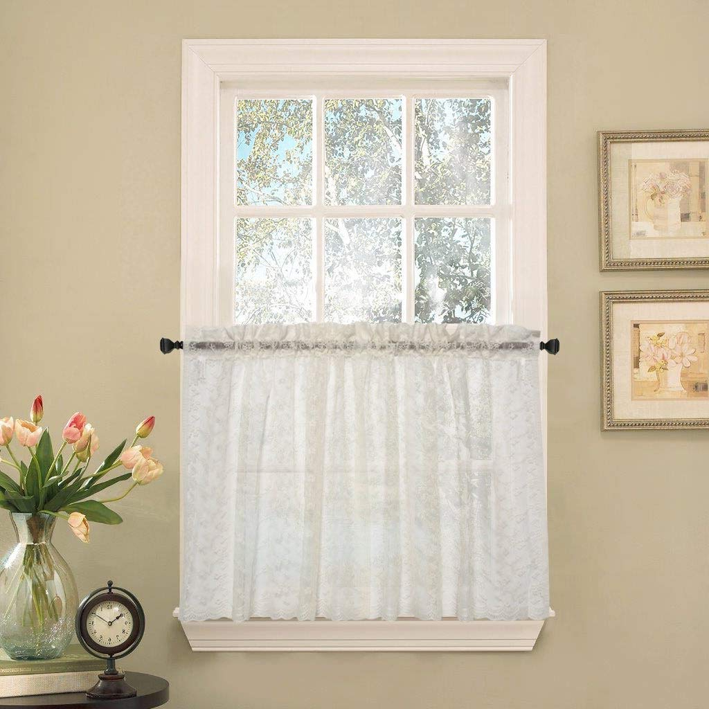 White Micro Striped Semi Sheer Window Curtain Pieces Regarding Well Liked Amazon: Bed Bath N More Elegant Ivory Priscilla Lace (View 12 of 20)