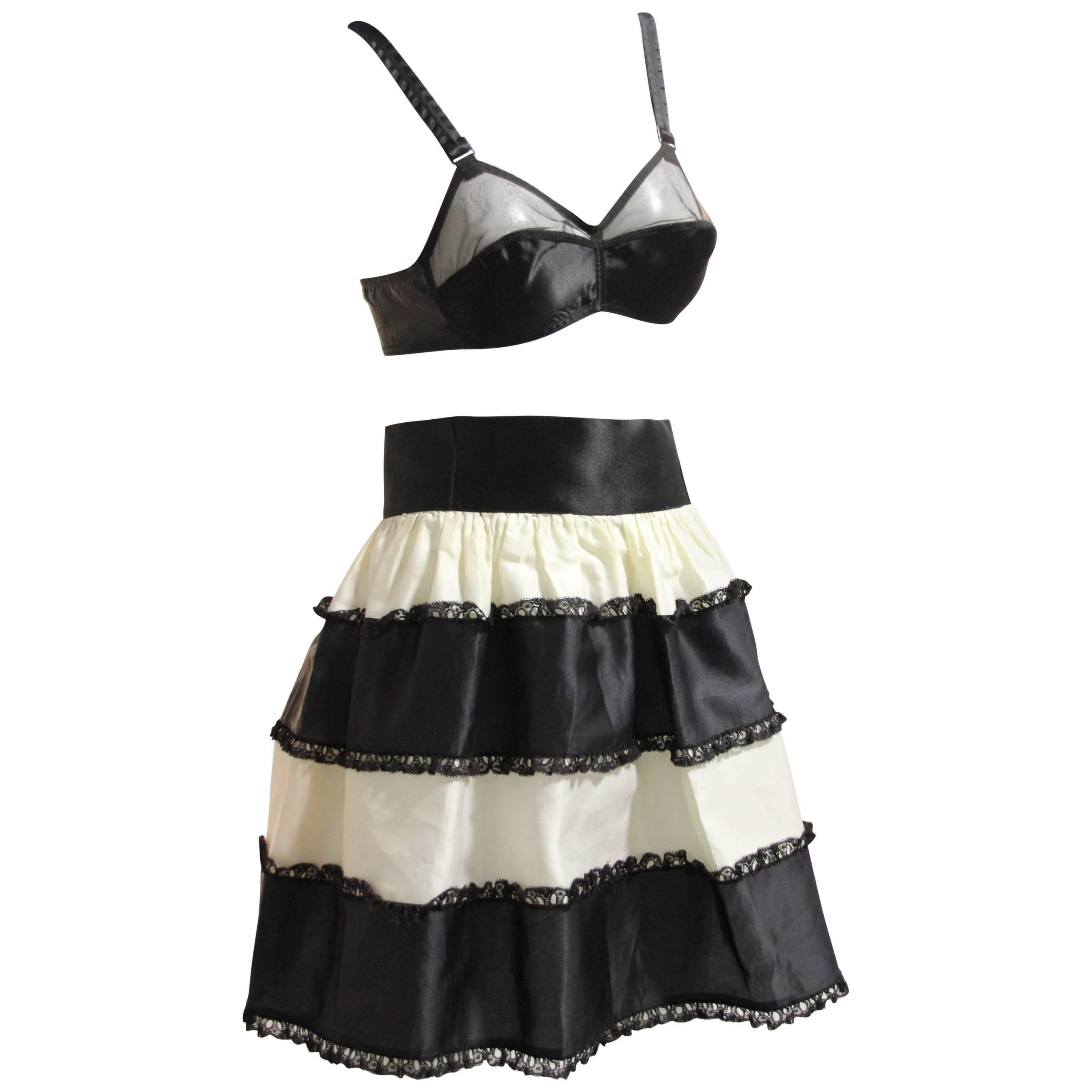 White Ruffled Sheer Petticoat Tier Pairs In Current 1950s French Maid Ensemble – Bra W Tiered Organza Black And (View 16 of 20)