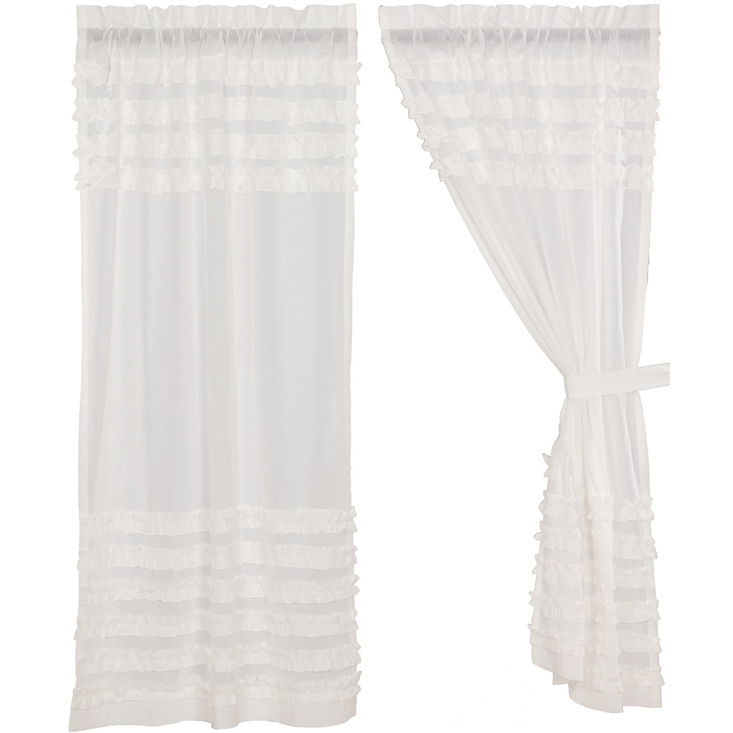 White Ruffled Sheer Petticoat Tier Pairs Pertaining To Most Up To Date White Farmhouse Curtains Vhc White Ruffled Sheer Petticoat Panel Pair Rod Pocket Cotton Solid Color Ruched Ruffle Sheer (View 4 of 20)