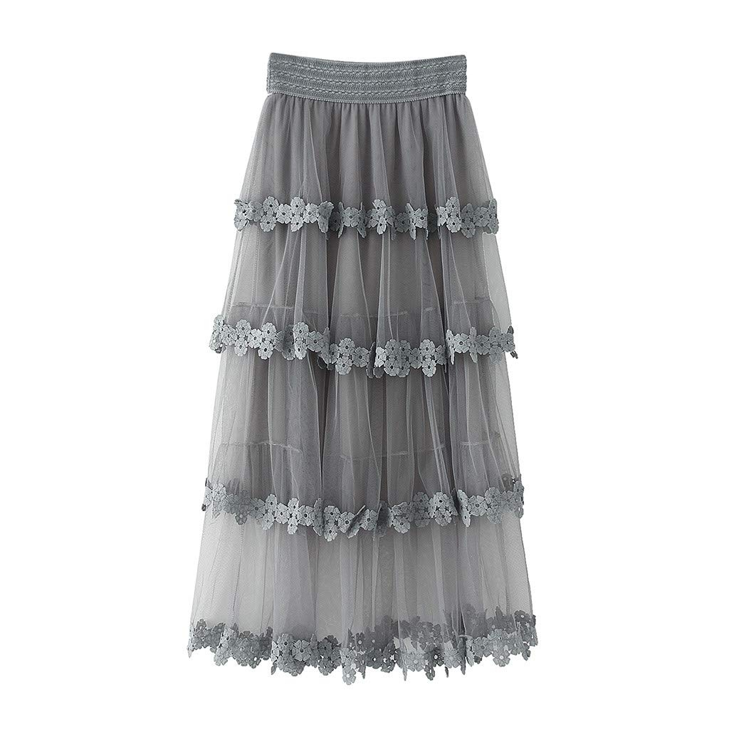 White Ruffled Sheer Petticoat Tier Pairs With Regard To Most Recent Women Summer Mesh Skirt 50s Vintage Embroidery A Line Lace (View 14 of 20)