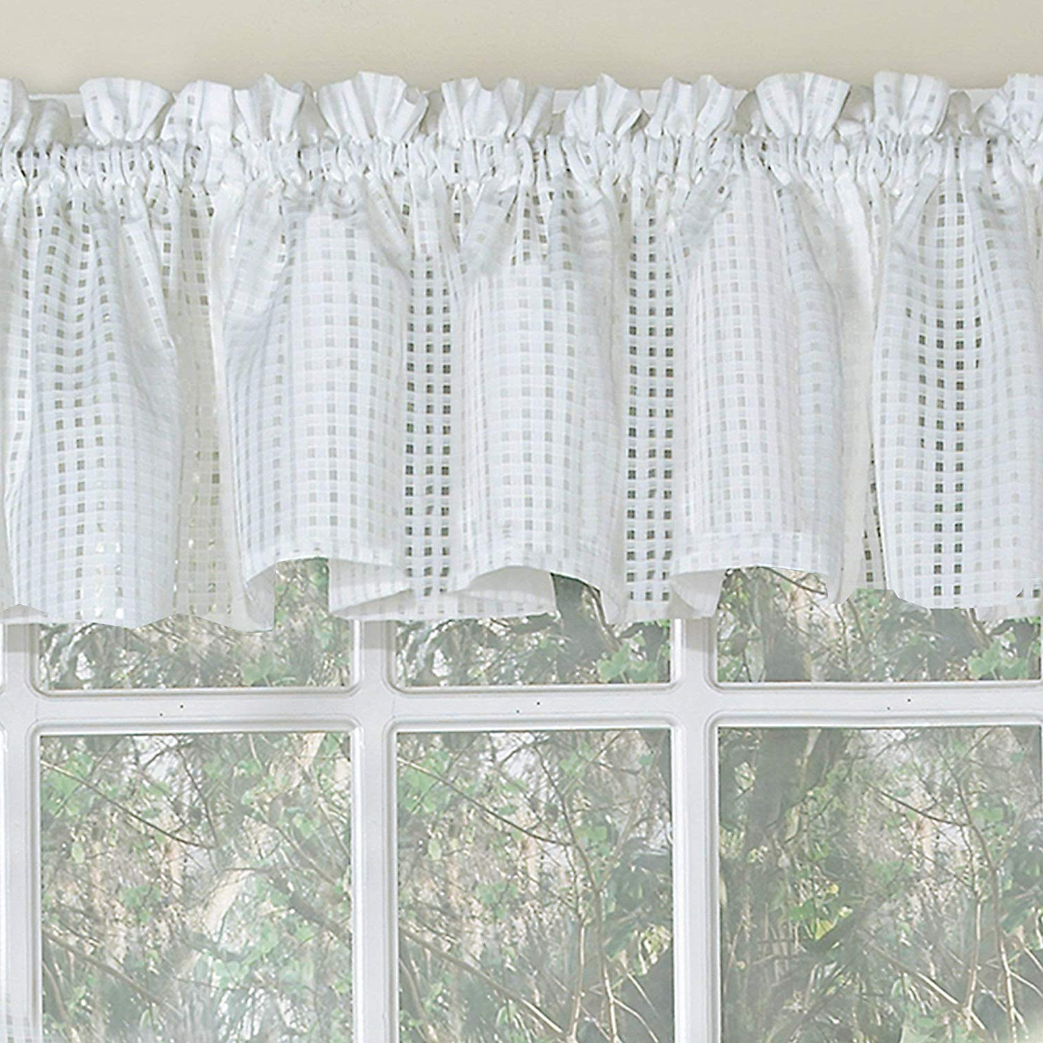 White Tone On Tone Raised Microcheck Semisheer Window Curtain Pieces In Well Known Bed Bath N More White Tone On Tone Raised Micro Check Semi (View 3 of 20)