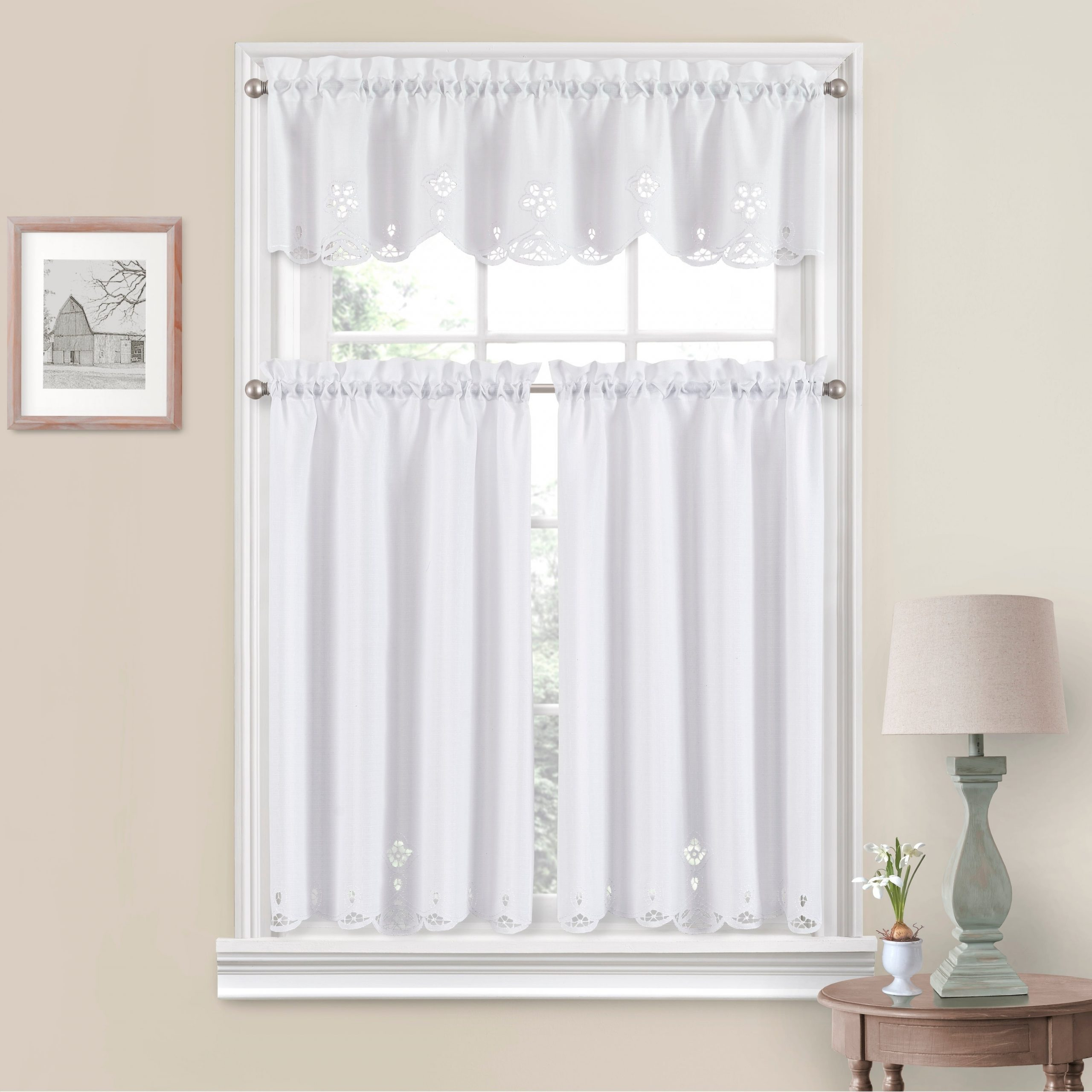 White Tone On Tone Raised Microcheck Semisheer Window Curtain Pieces With Regard To Preferred Vue Window Solutions Elaine Tier Pair (View 12 of 20)