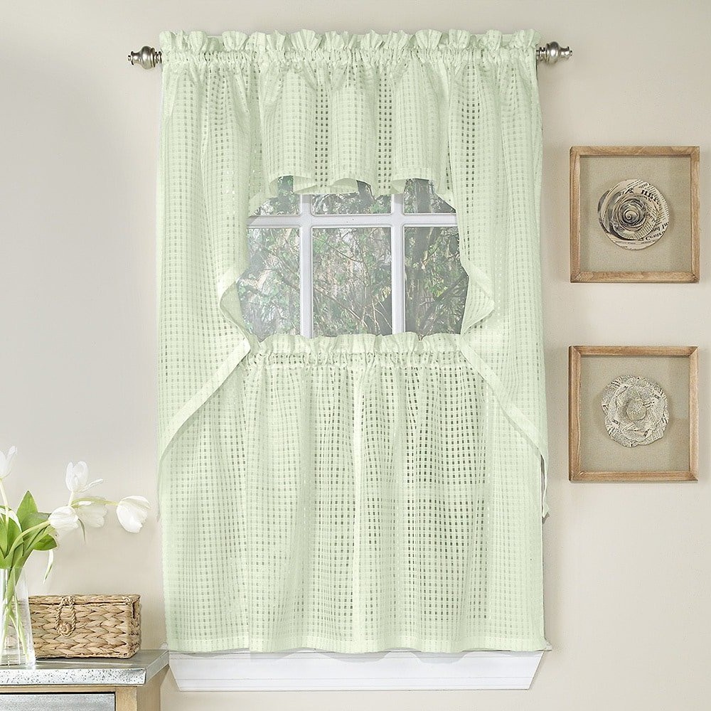 Featured Photo of White Tone On Tone Raised Microcheck Semisheer Window Curtain Pieces