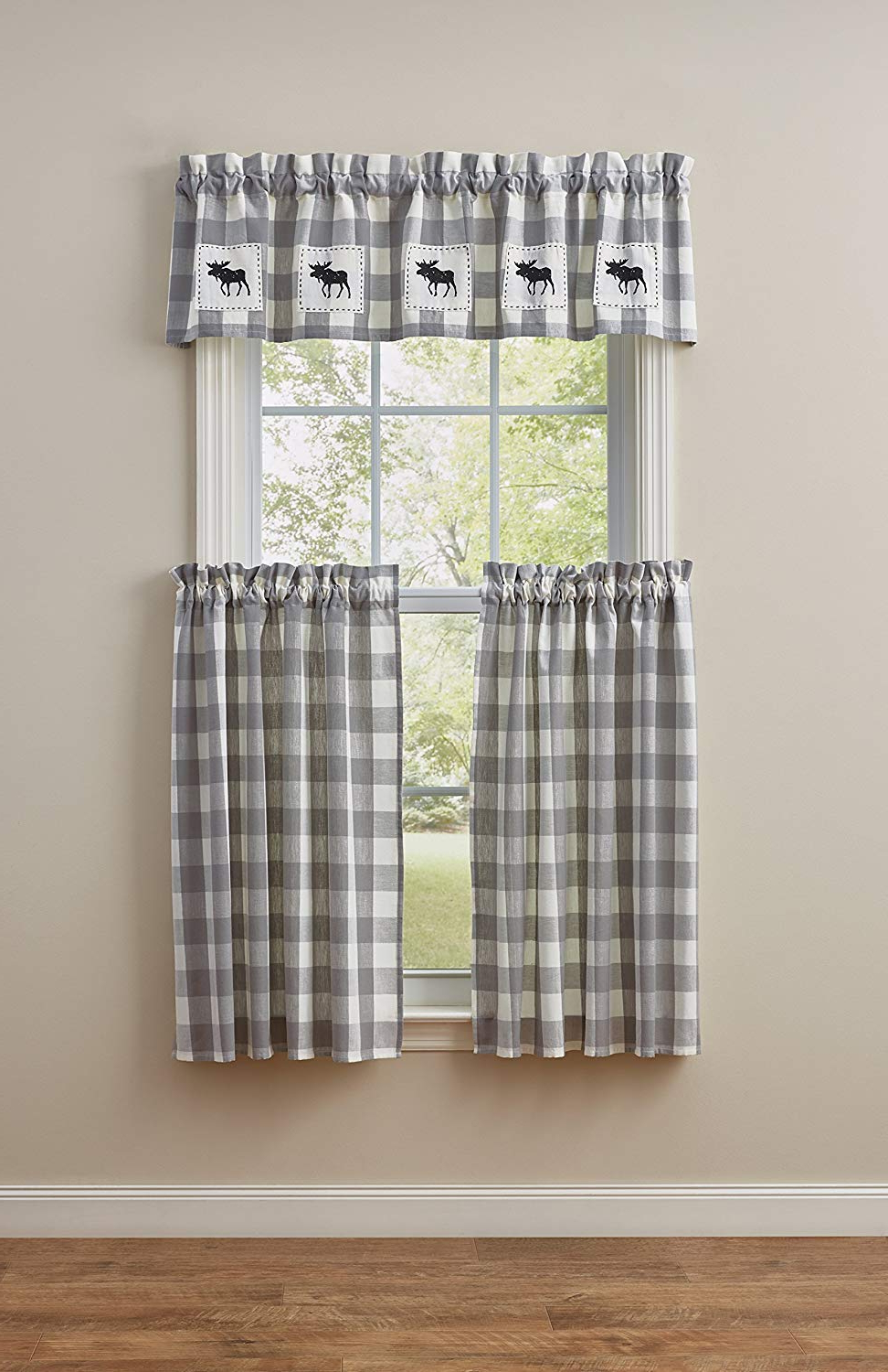 Wicklow Gray & White Check Tier Curtain Pair, 72W X 36L, Dove For Most Up To Date Dove Gray Curtain Tier Pairs (View 20 of 20)