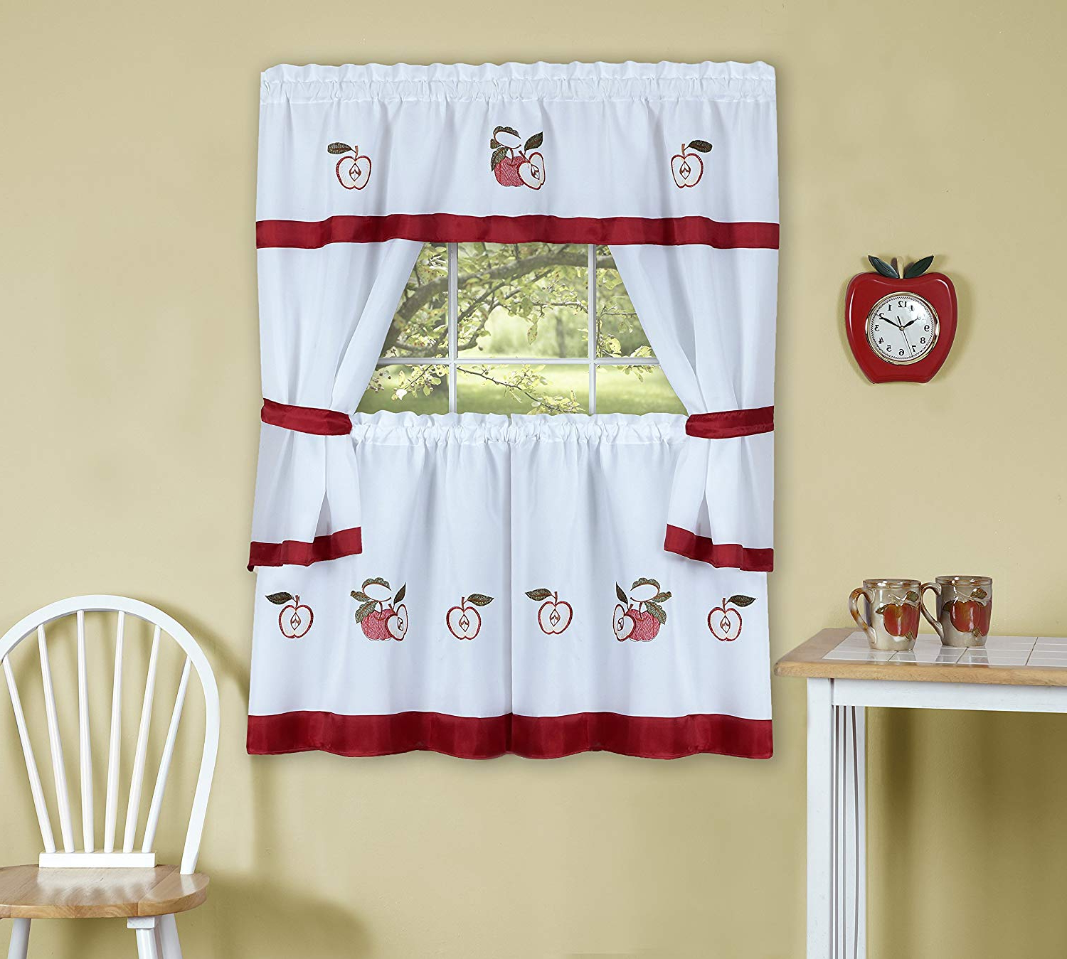 "Widely Used 5 Piece Burgundy Embroidered Cabernet Kitchen Curtain Sets With Achim Home Furnishings Gala Embellished Cottage Set With Tier Pair, 58 36"", Red (View 13 of 20)"
