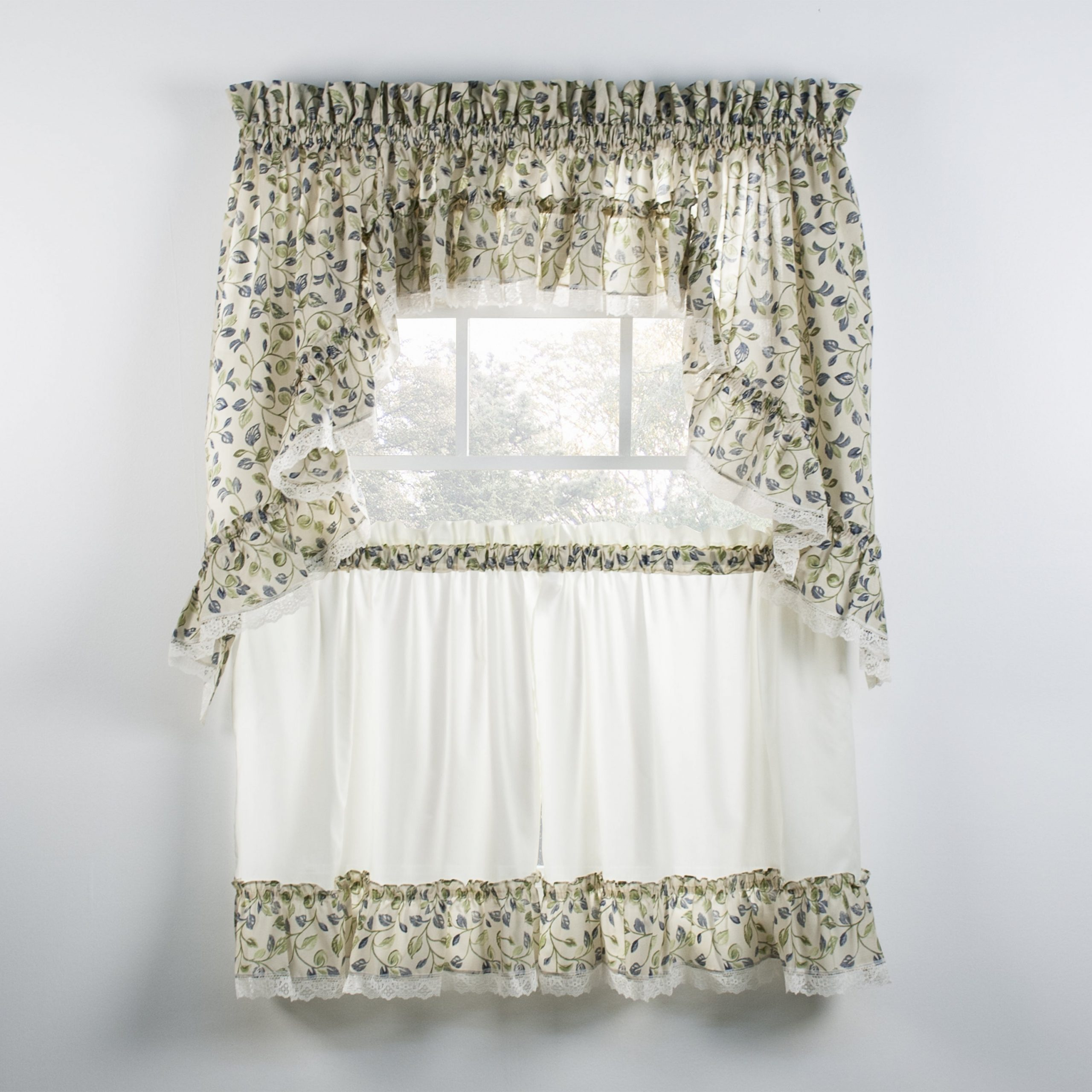 Widely Used Abby Embroidered 5 Piece Curtain Tier And Swag Sets Regarding Ellis Curtain Clarice Blue Ruffled Swag And Tiers Sold Seperately (View 14 of 20)