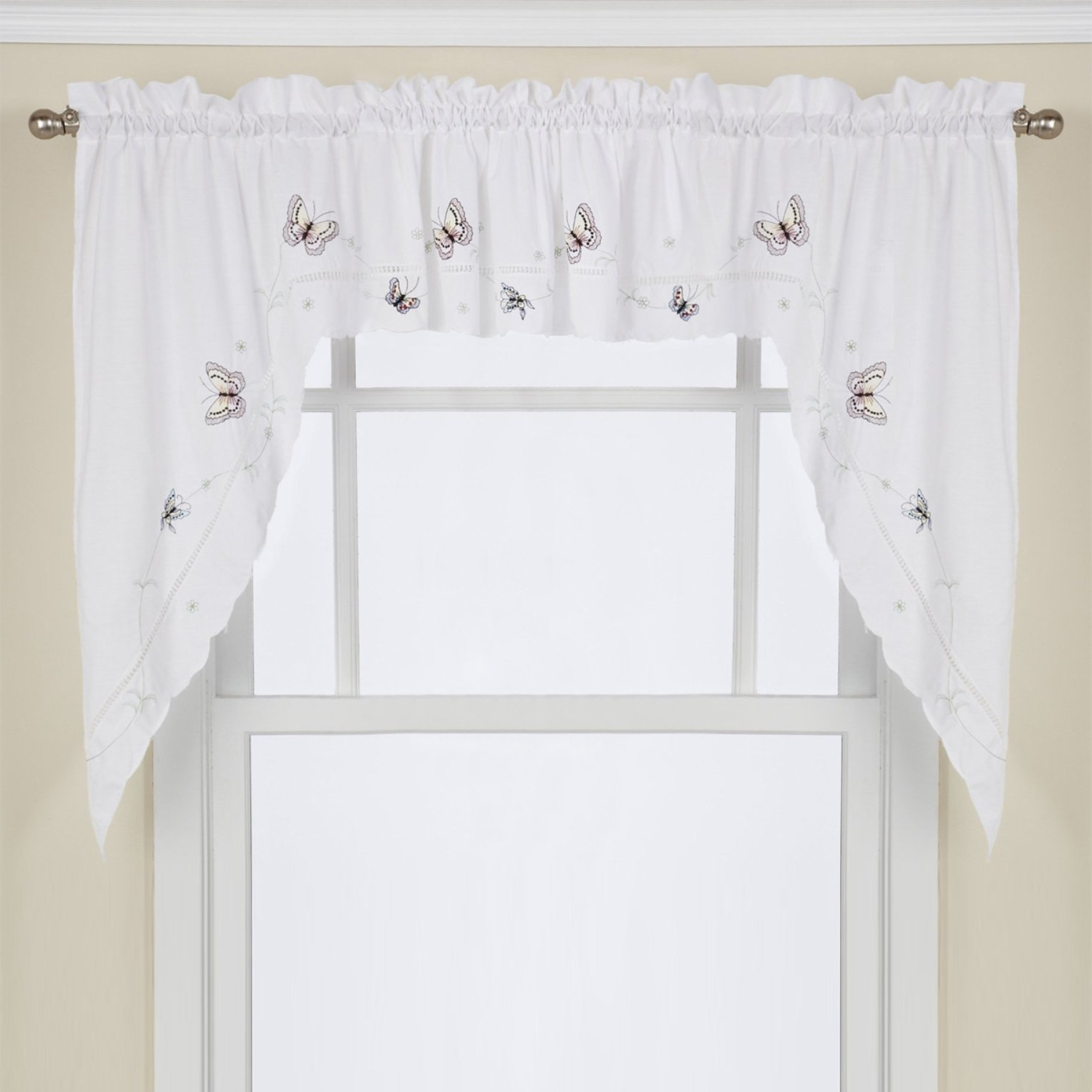 Featured Photo of Fluttering Butterfly White Embroidered Tier, Swag, Or Valance Kitchen Curtains