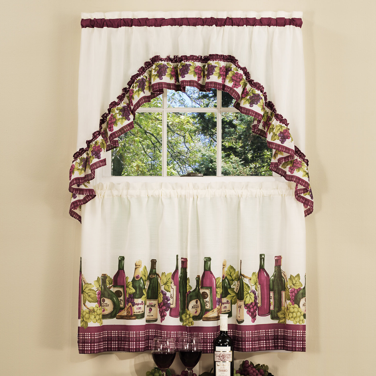 "Widely Used Chardonnay 57"" Kitchen Curtain In Window Curtains Sets With Colorful Marketplace Vegetable And Sunflower Print (View 10 of 20)"
