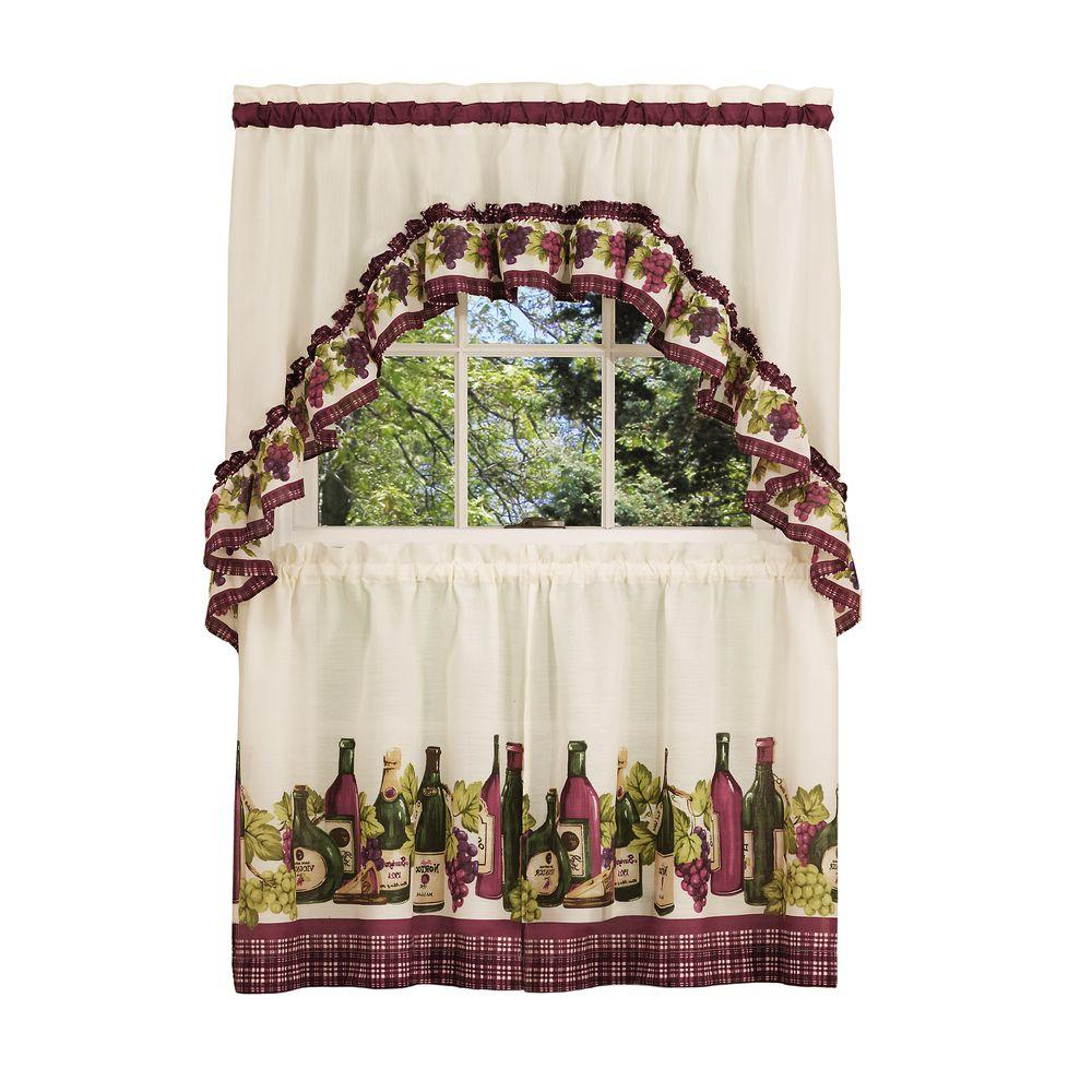 Widely Used Chardonnay Tier And Swag Kitchen Curtain Sets Intended For Achim Semi Opaque Chardonnay Tailored Polyester 57 In. W X 24 In (View 20 of 20)