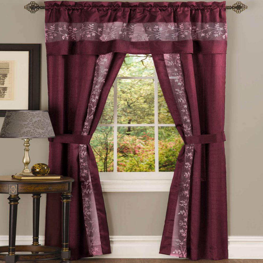 Widely Used Chocolate 5 Piece Curtain Tier And Swag Sets With Regard To Achim Sheer Fairfield Burgundy Window Curtain Set – 55 In. W X 84 In (View 20 of 20)
