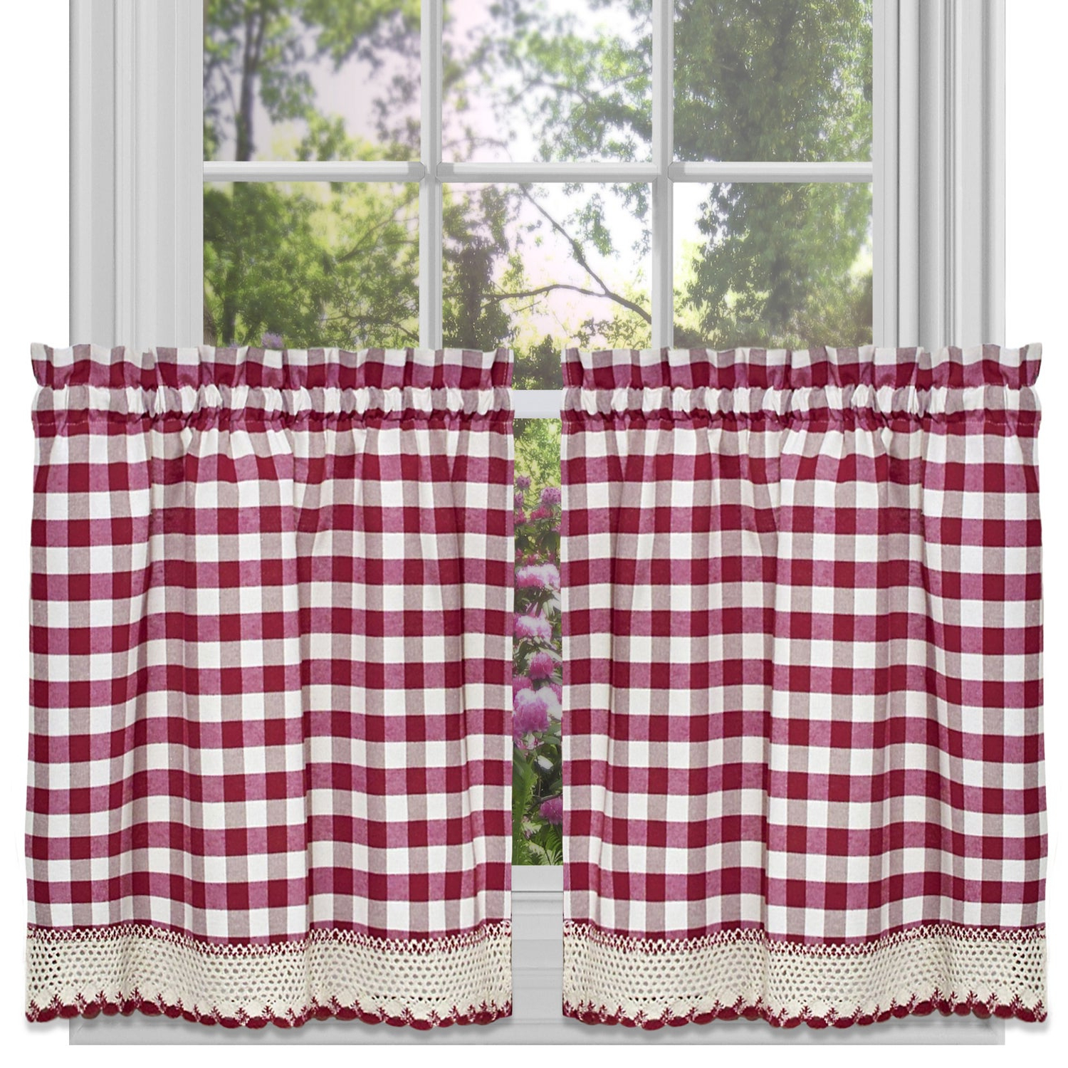 Widely Used Classic Buffalo Check Kitchen Burgundy/white Curtain Set Or Separates Inside Burgundy Cotton Blend Classic Checkered Decorative Window Curtains (View 17 of 20)