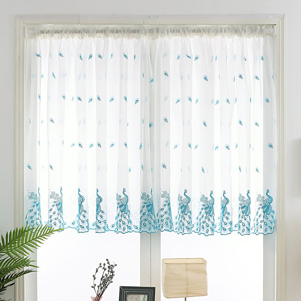 Widely Used Embroidered Pink Peacock Sheer Curtains 120Cm Long For Kitchen Windows Blue  White Rod Pocket Short Sheer Voile Door Panel Tm0283 With Regard To Embroidered Rod Pocket Kitchen Tiers (View 20 of 20)