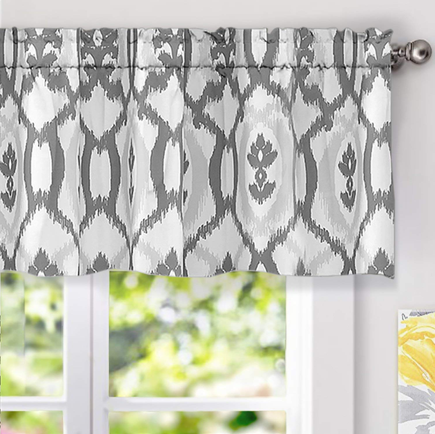 Widely Used Floral Pattern Window Valances With Driftaway Evelyn Ikat Fleur/floral Pattern Window Curtain Valance (View 15 of 20)