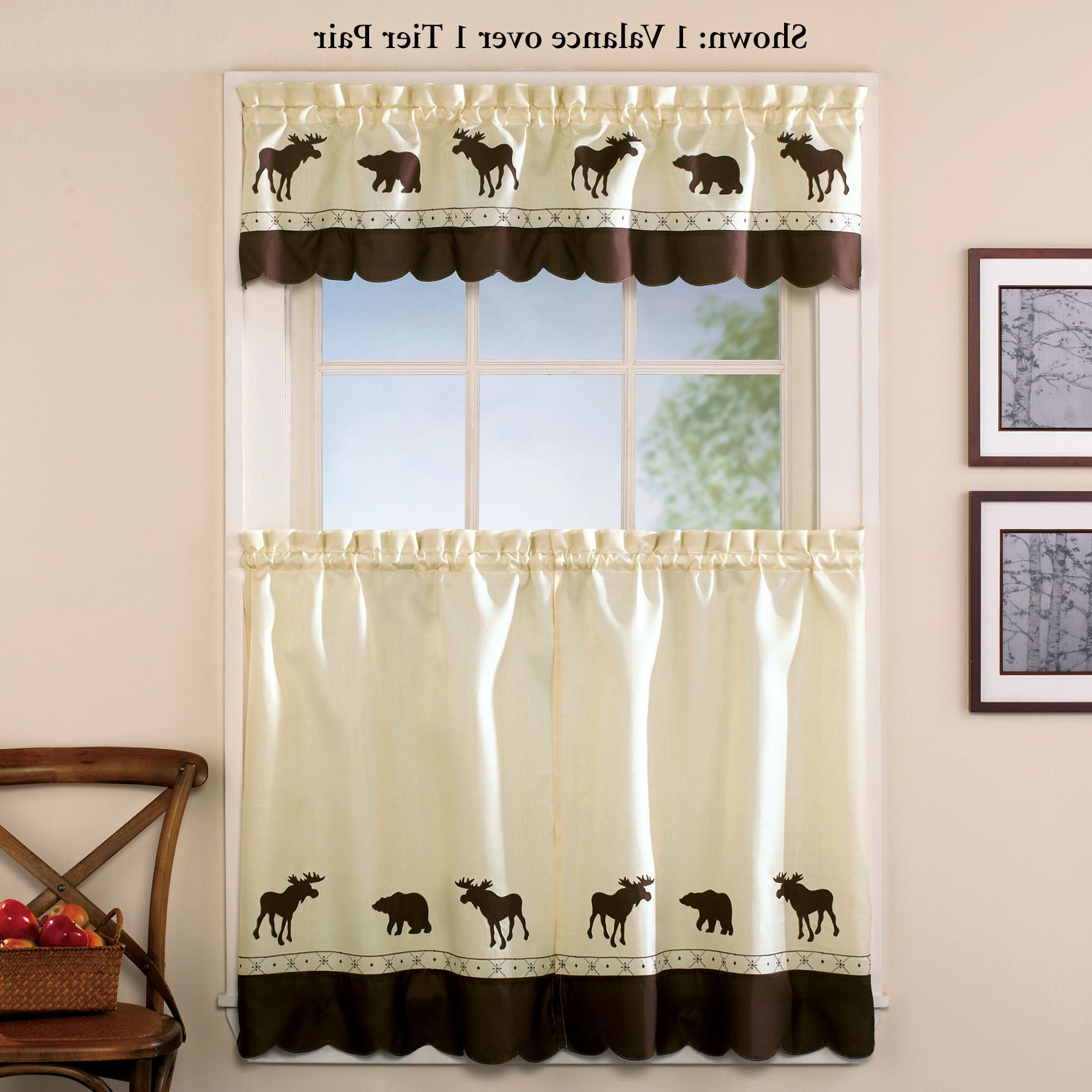Widely Used Forest Bear Moose Rustic Tier Window Treatment Throughout Forest Valance And Tier Pair Curtains (View 6 of 20)