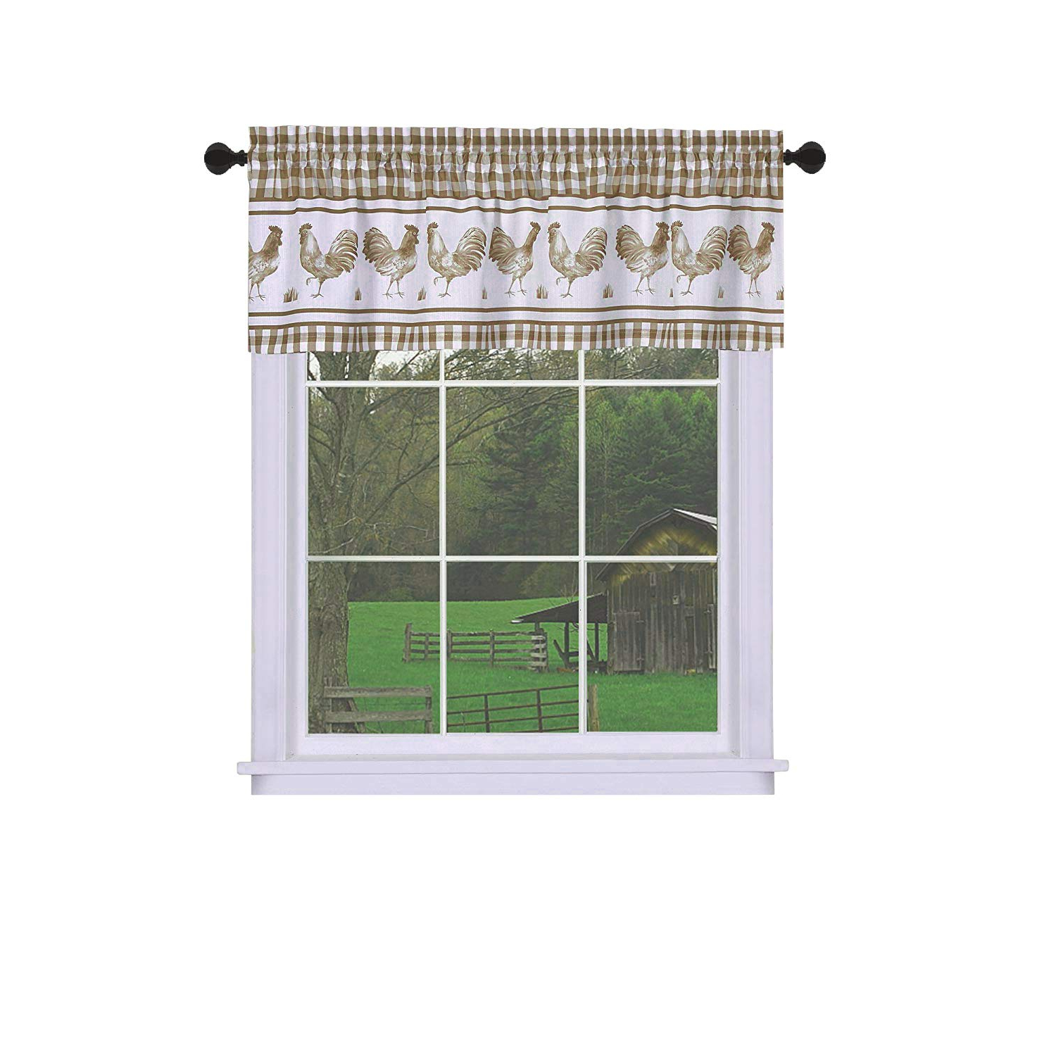 Widely Used Goodgram Plaid Rooster Window Curtain Valance – Assorted Colors (navy) Throughout Barnyard Buffalo Check Rooster Window Valances (View 8 of 20)