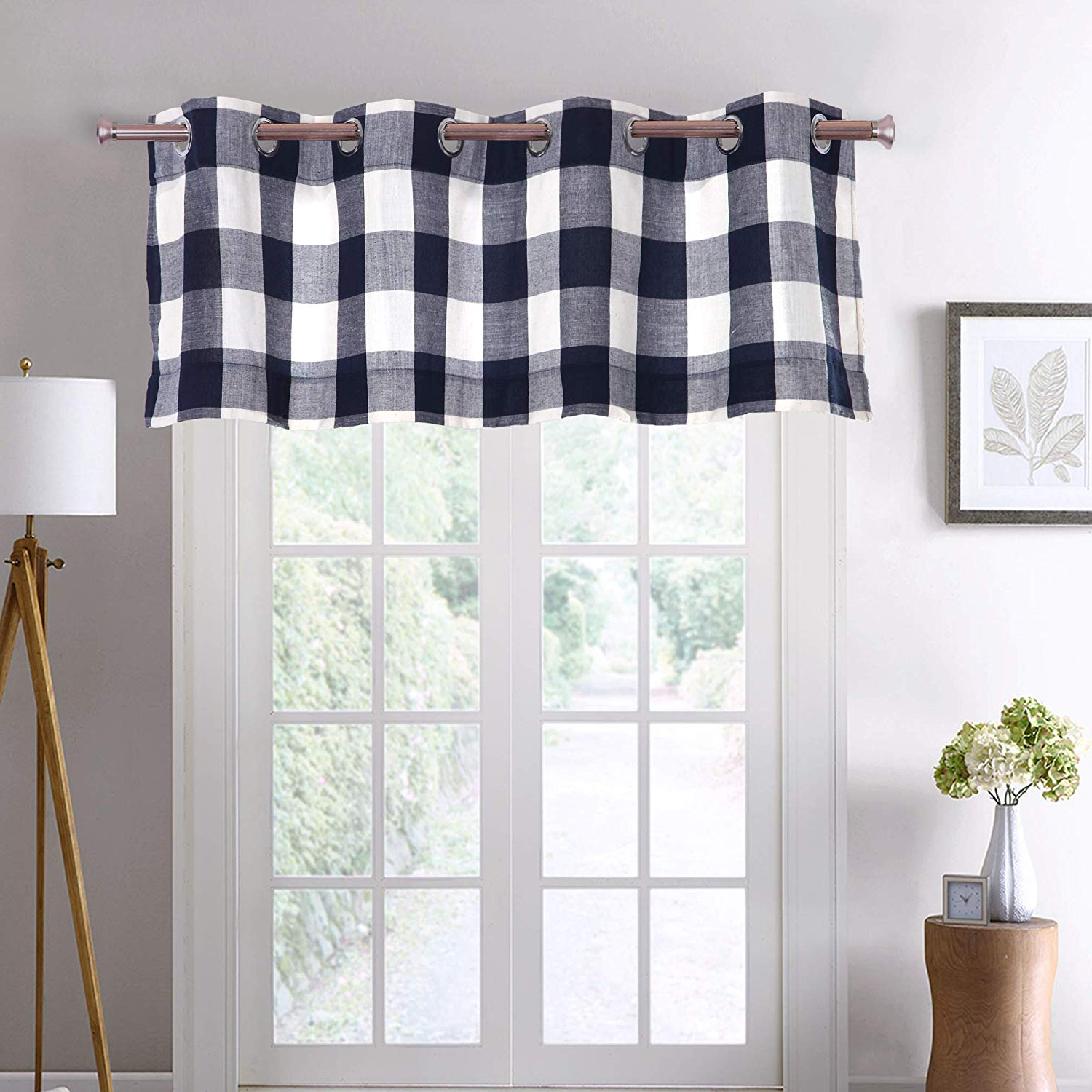 "Widely Used Grandin Curtain Valances In Black Pertaining To Decotex Courtyard Checkered Grommet Window Curtain Treatment Panel Drapes Or Valance (1 Valance 53"" X 18"", Black/beige) (View 5 of 20)"