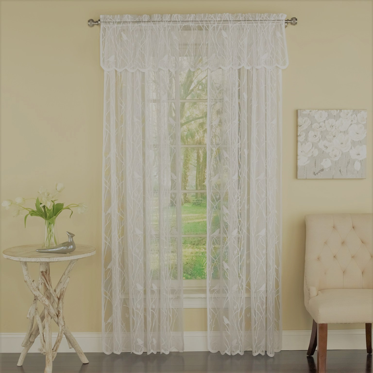 """Widely Used Ivory Knit Lace Bird Motif Window Curtain Inside Canoro Bird Song Sheer Lace Tailored Window Curtain Valance – Ivory (56""""w X 12""""l) (View 11 of 20)"""