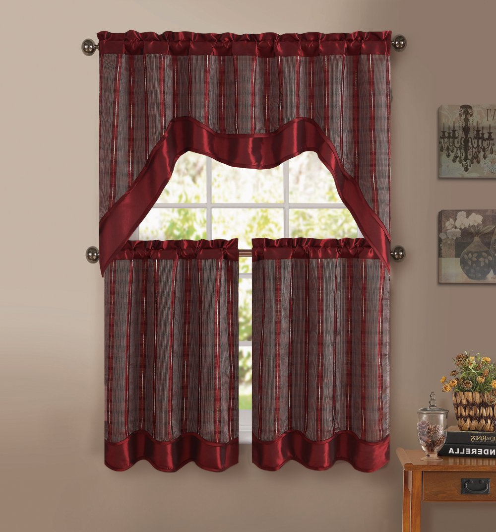 Widely Used Kitchen Burgundy/white Curtain Sets Inside 3 Pc Kitchen Window Curtain Set: Double Layer, 2 Tiers, 1 Valance (burgundy) (View 4 of 20)