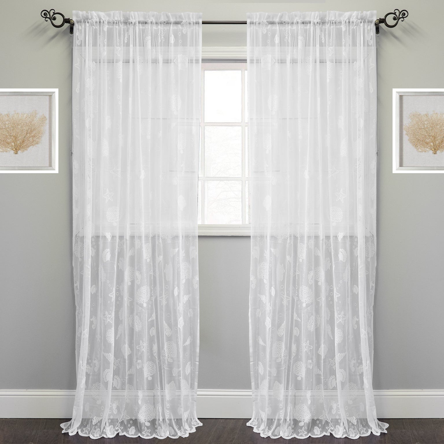 Widely Used Marine Life Motif Knitted Lace Window Curtain Pieces Pertaining To Marine Life Motif Knitted Lace Window Curtain Panel (View 6 of 20)