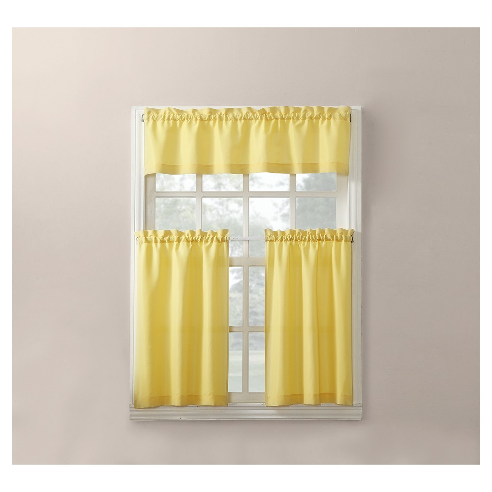 Widely Used Martine Microfiber 3 Piece Kitchen Curtain Valance And Tiers Regarding Solid Microfiber 3 Piece Kitchen Curtain Valance And Tiers Sets (View 7 of 20)
