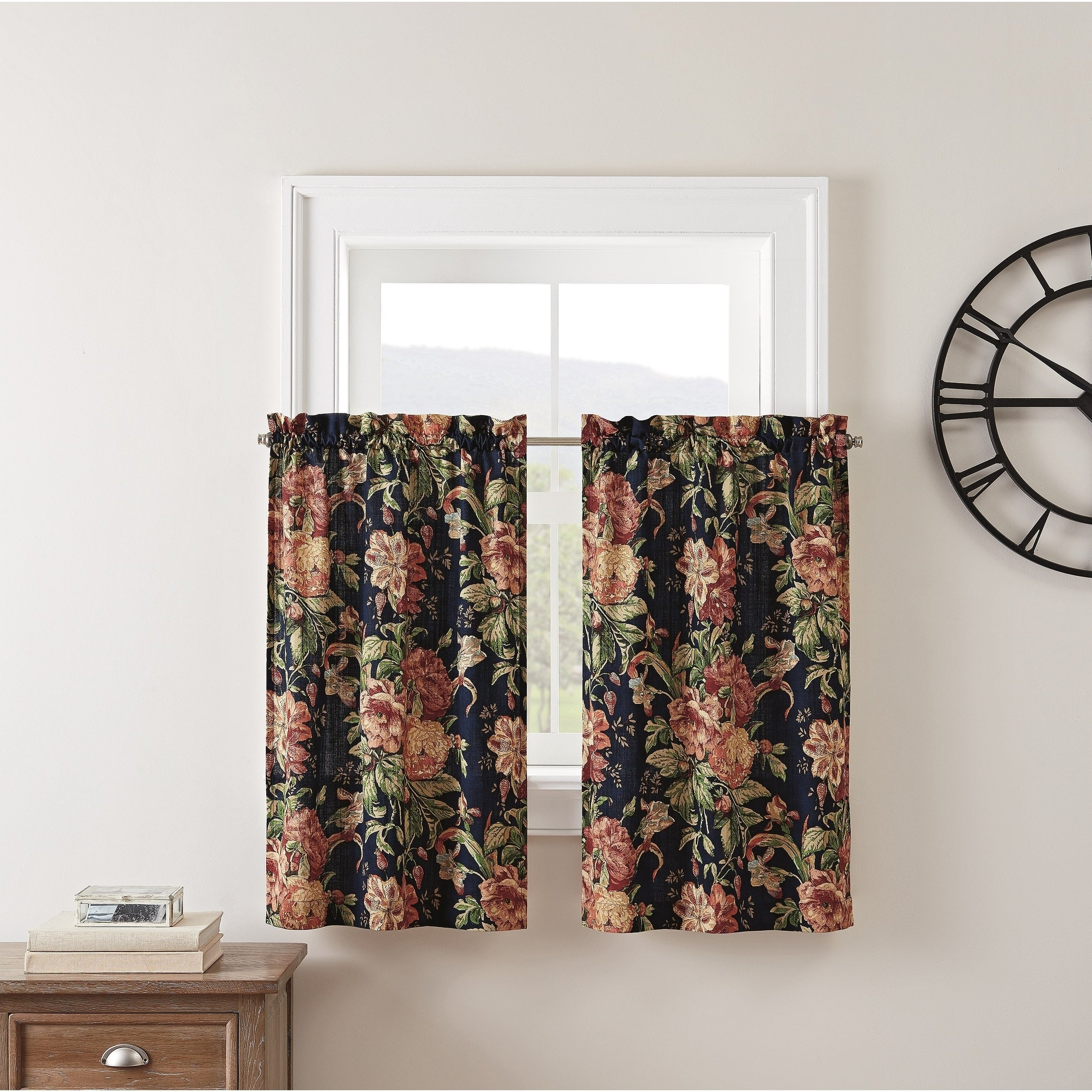 Widely Used Oakwood Linen Style Decorative Window Curtain Tier Sets In Waverly Kensington Bloom Window Tier Pair (View 19 of 20)