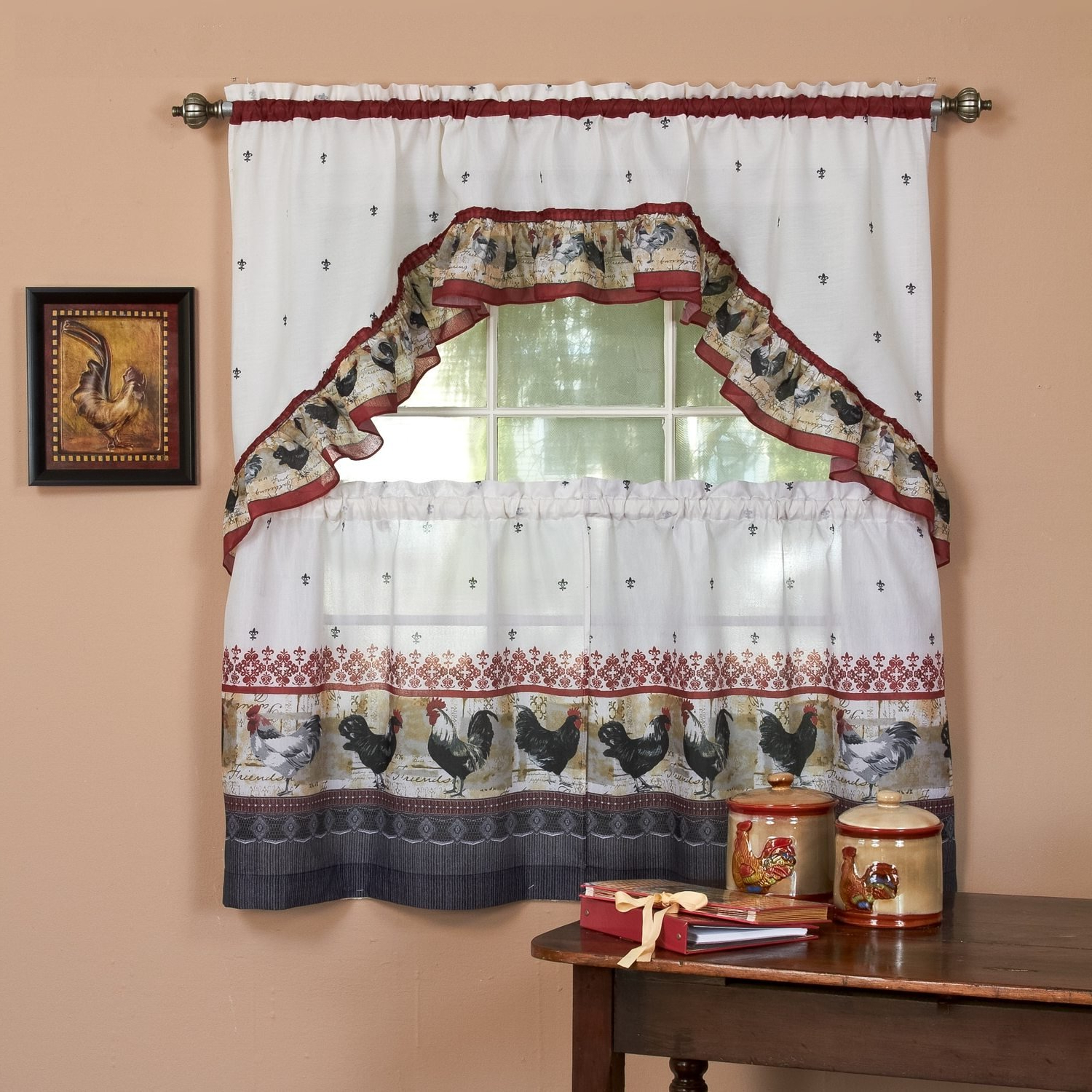 Widely Used Traditional Tailored Tier And Swag Window Curtains Sets With Ornate Flower Garden Print Pertaining To Amazon: 3 Piece Burgundy Grey Ornate Rooster Kitchen (View 10 of 20)