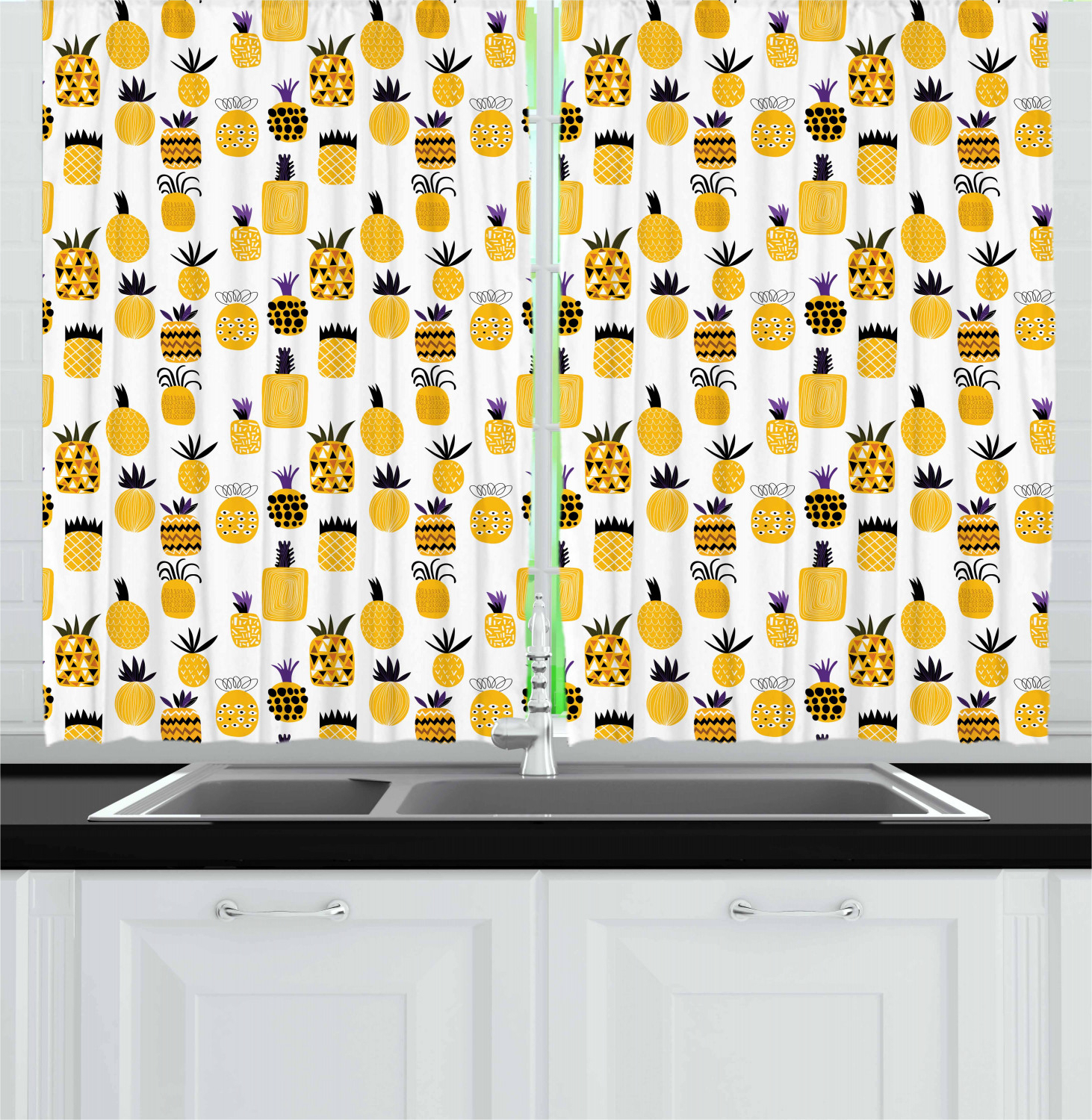 "Widely Used Traditional Tailored Window Curtains With Embroidered Yellow Sunflowers In Details About Yellow Kitchen Curtains 2 Panel Set Home Decor Window Drapes 55"" X 39"" Ambesonne (View 13 of 20)"