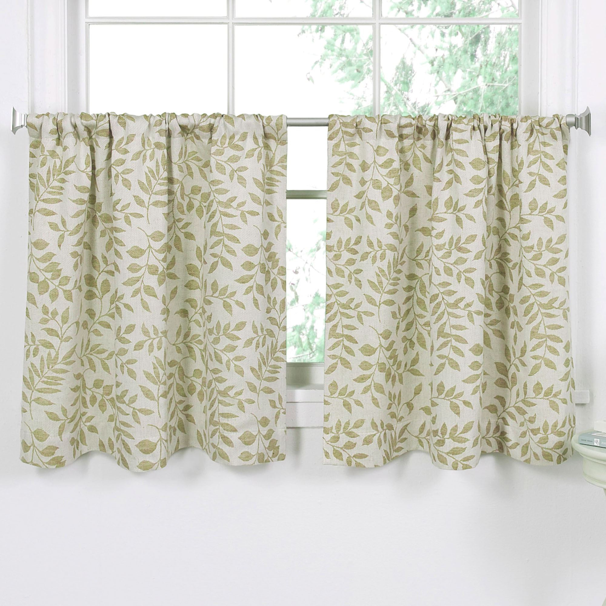 Widely Used Tranquility Curtain Tier Pairs Regarding Tranquil Leaf Design Tier Window Treatment (View 14 of 20)