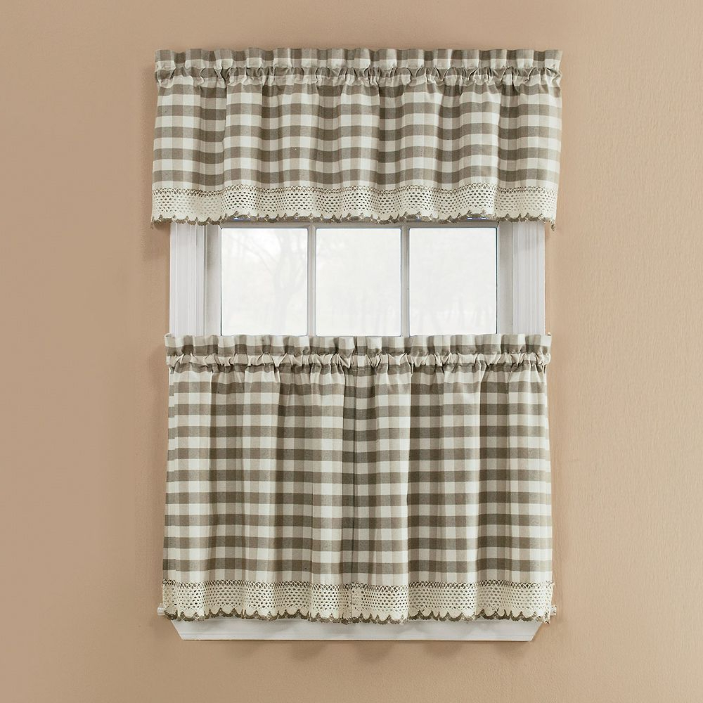 Window Accents Norwalk Plaid 3 Piece Tier Kitchen Window With Regard To Popular Cotton Classic Toast Window Pane Pattern And Crotchet Trim Tiers (View 12 of 20)