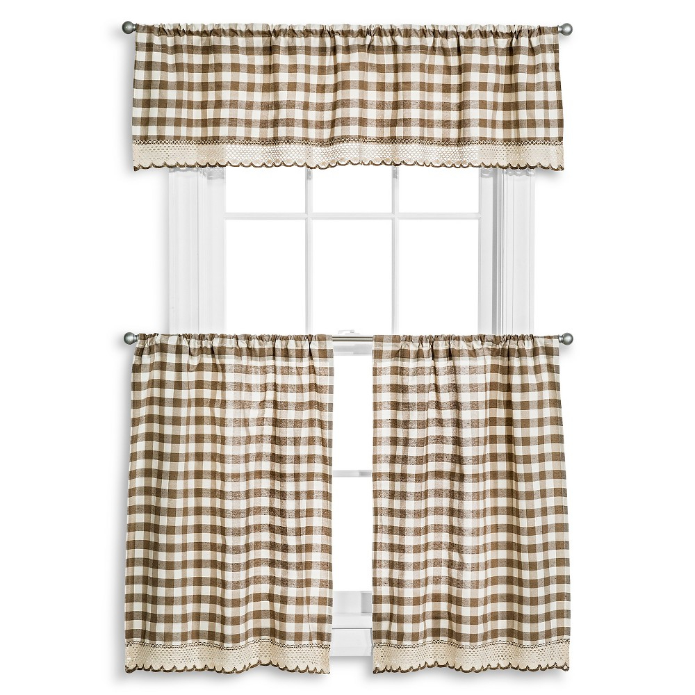 Window Accents Norwalk Woven Plaid Rod Pocket 3 Piece Tier Inside Favorite Floral Watercolor Semi Sheer Rod Pocket Kitchen Curtain Valance And Tiers Sets (View 18 of 20)