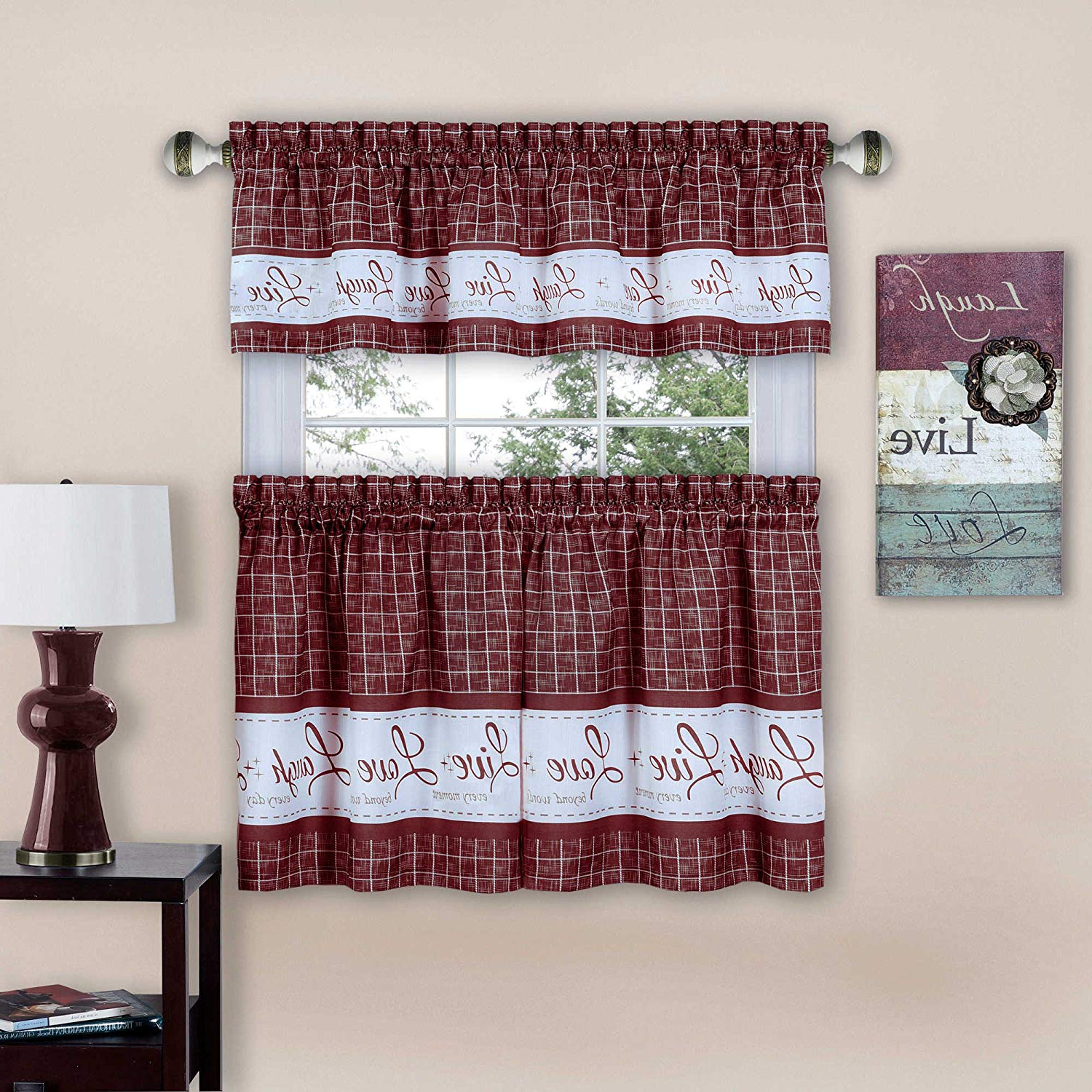 "Window Curtain Tier And Valance Sets Regarding Most Popular Achim Home Furnishings Imports Live, Love, Laugh Window Curtain Tier Pair And Valance Set, 58"" X 24"", Burgundy (View 6 of 20)"