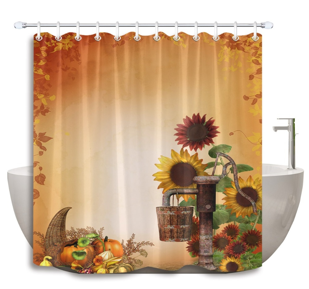 Window Curtains Sets With Colorful Marketplace Vegetable And Sunflower Print Pertaining To 2020 Lb Sunflowers And Fruits Of Harvest Autumn Shower Curtain Mat Set Extra Long Waterproof Bathroom Fabric For Art Bathtub Decor (View 18 of 20)