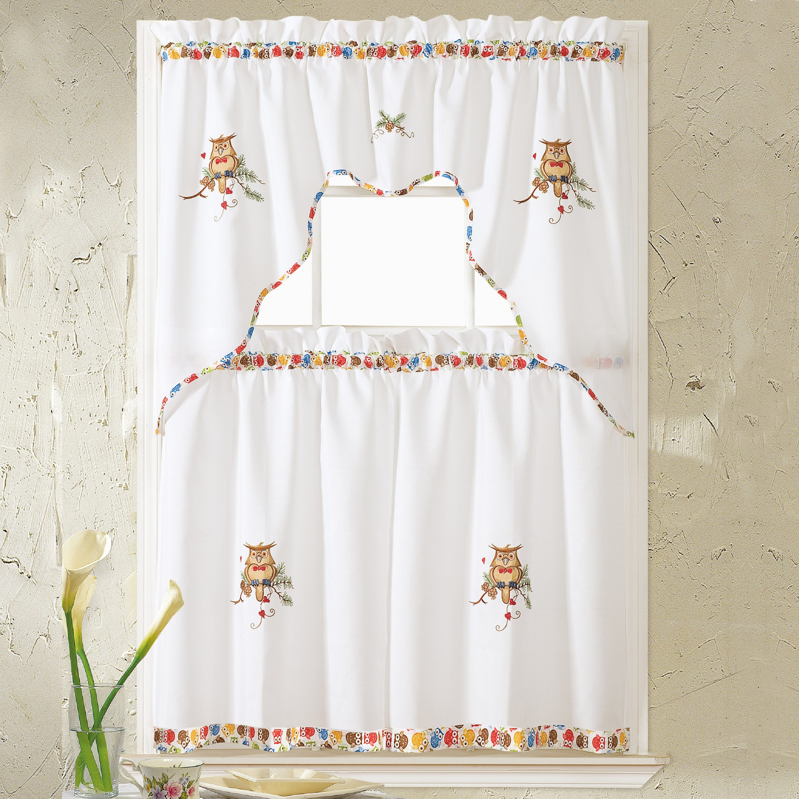 Window Curtains Sets With Colorful Marketplace Vegetable And Sunflower Print With Most Up To Date Hartlepool Owl 36'' Kitchen Curtain (View 17 of 20)