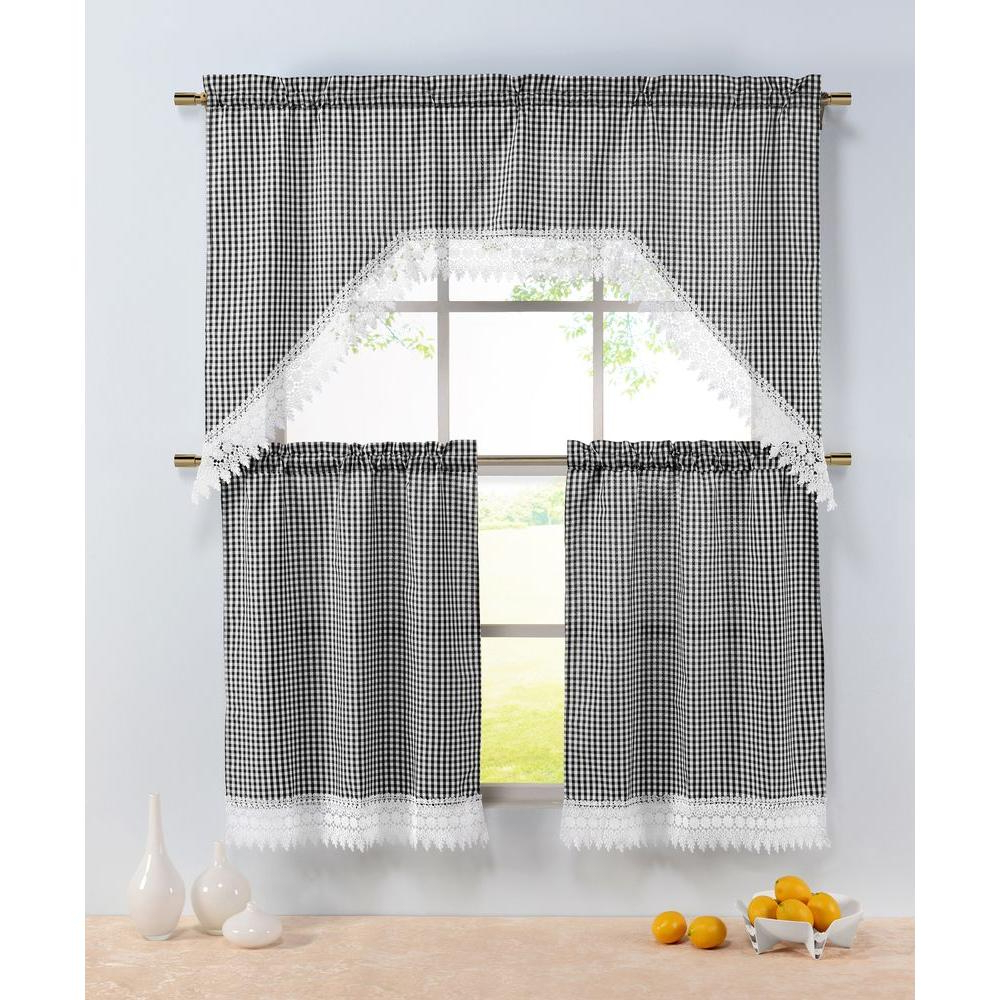 Window Elements Semi Opaque Checkered Black Embroidered 3 Piece Kitchen Curtain Tier And Valance Set For Fashionable Semi Sheer Rod Pocket Kitchen Curtain Valance And Tiers Sets (View 19 of 20)