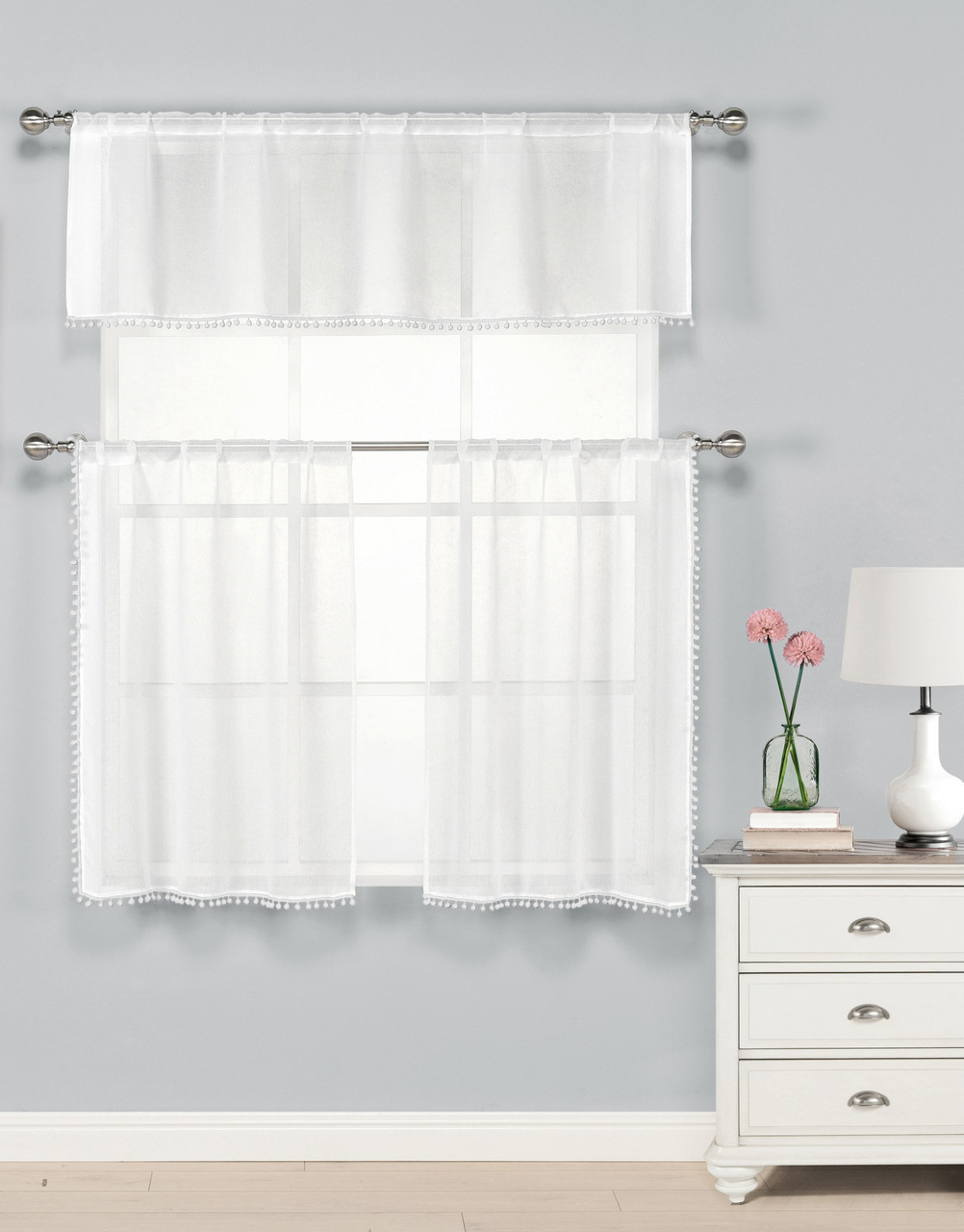 Window Treatments Ivory 3 Piece Kitchen Window Treatment Set With Regard To Most Up To Date Pintuck Kitchen Window Tiers (View 18 of 20)