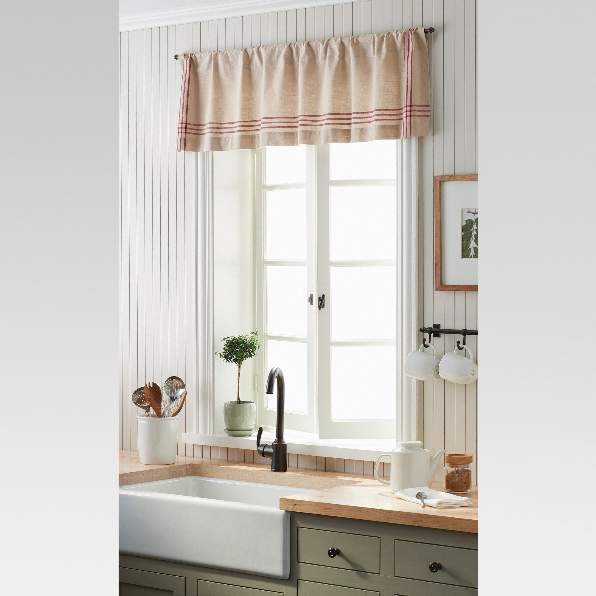 Window Valance – Linen/red Plaid Border – Threshold Pertaining To 2021 Wallace Window Kitchen Curtain Tiers (View 12 of 20)