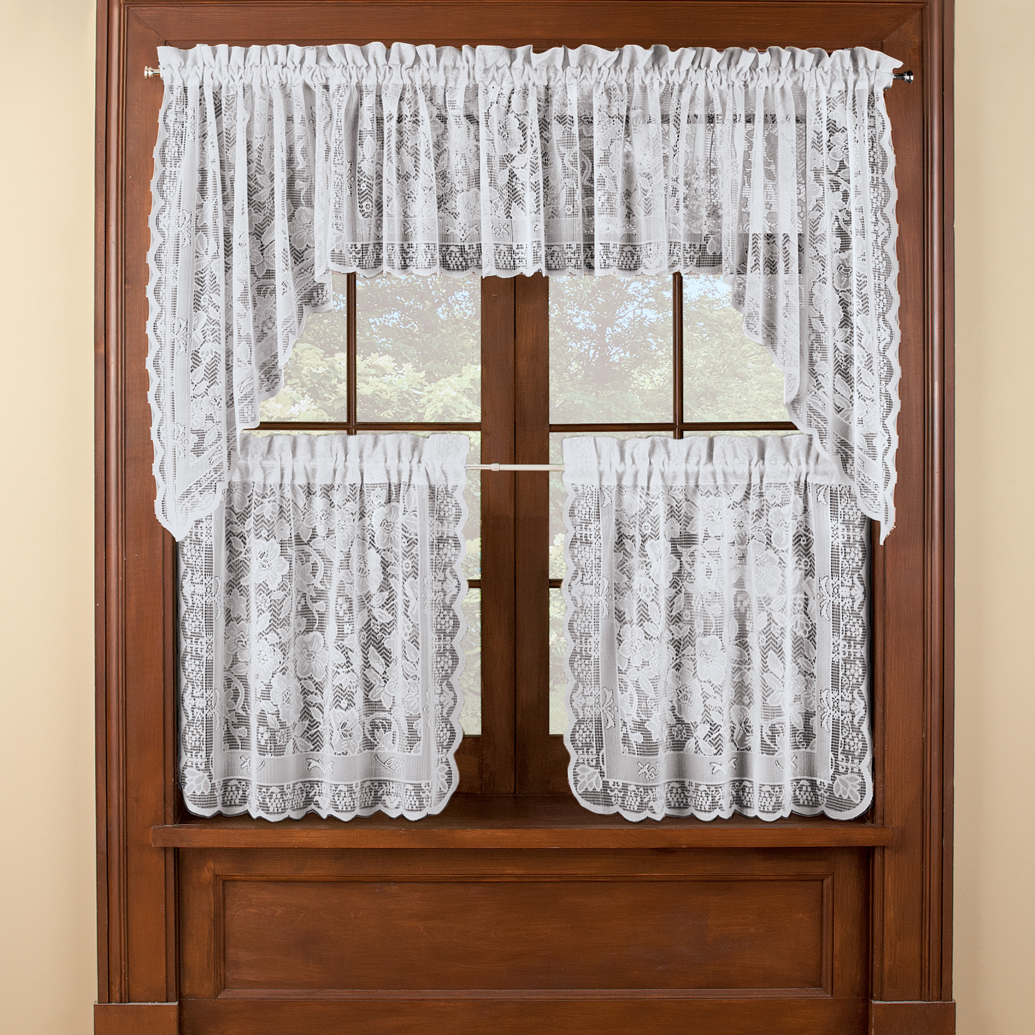 Windsor Lace Cafe Curtain Tier Set For Newest Floral Lace Rod Pocket Kitchen Curtain Valance And Tiers Sets (View 18 of 20)