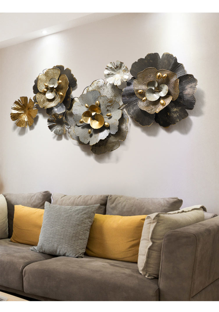2018 Nordic Style Three Dimensional Living Room Sofa Background Pertaining To Nordic Three Dimensional Iron Wall Art (View 11 of 20)
