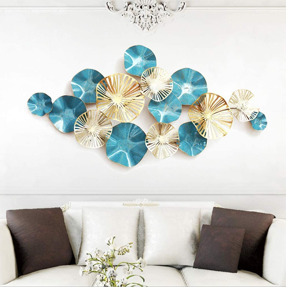 Kjglxd Metal Wall Art, Iron Wall Decoration Nordic Style Decorative Pendant Wall Creative Wrought Iron Lotus Leaf Wall Hanging Metal Wall With Regard To Newest Nordic Three Dimensional Iron Wall Art (View 3 of 20)