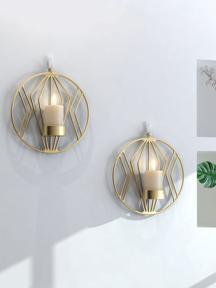 Most Recent 1pc/2pcs Wall Mounted Candle Holder Nordic Style Geometric Design Wall Art With Nordic Three Dimensional Iron Wall Art (View 20 of 20)