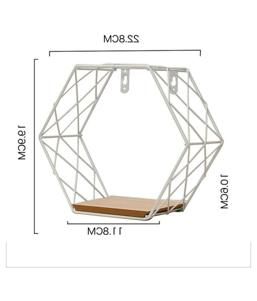 Most Up To Date Nordic Iron Hexagonal Grid Wall Floating Shelf Wall Hanging Throughout Nordic Three Dimensional Iron Wall Art (View 17 of 20)