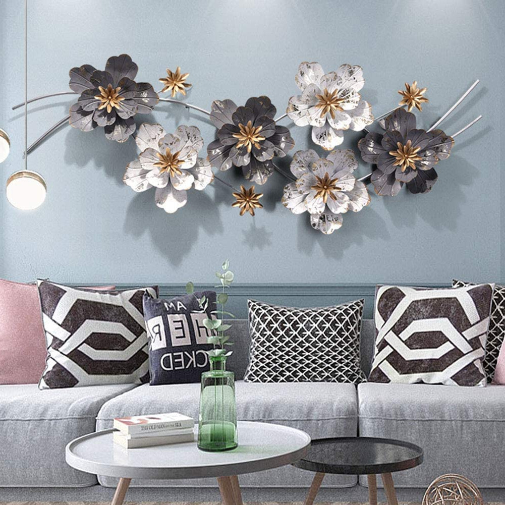 Nordic Three Dimensional Iron Wall Art Pertaining To Most Current Sfxyj Metal Sculpture Wall Art – Nordic Luxury Flower Restaurant Wall Hangings – Metal Wall Decoration Pendant For Home Kitchen Bedroom (View 6 of 20)